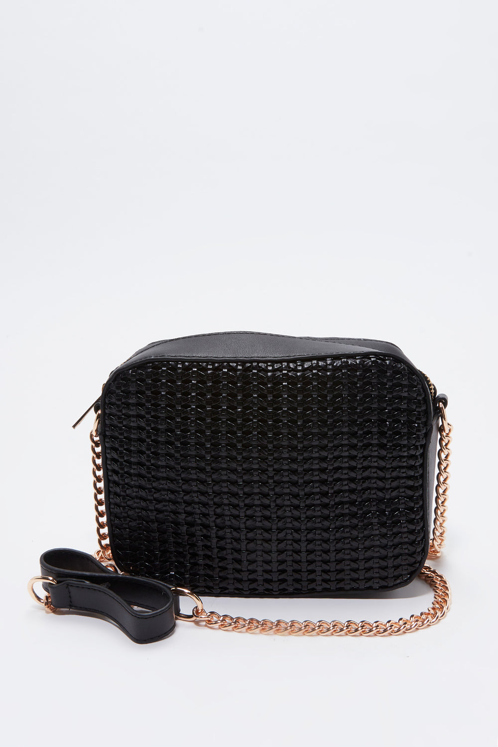 Crossbody Box Straw Bag Black