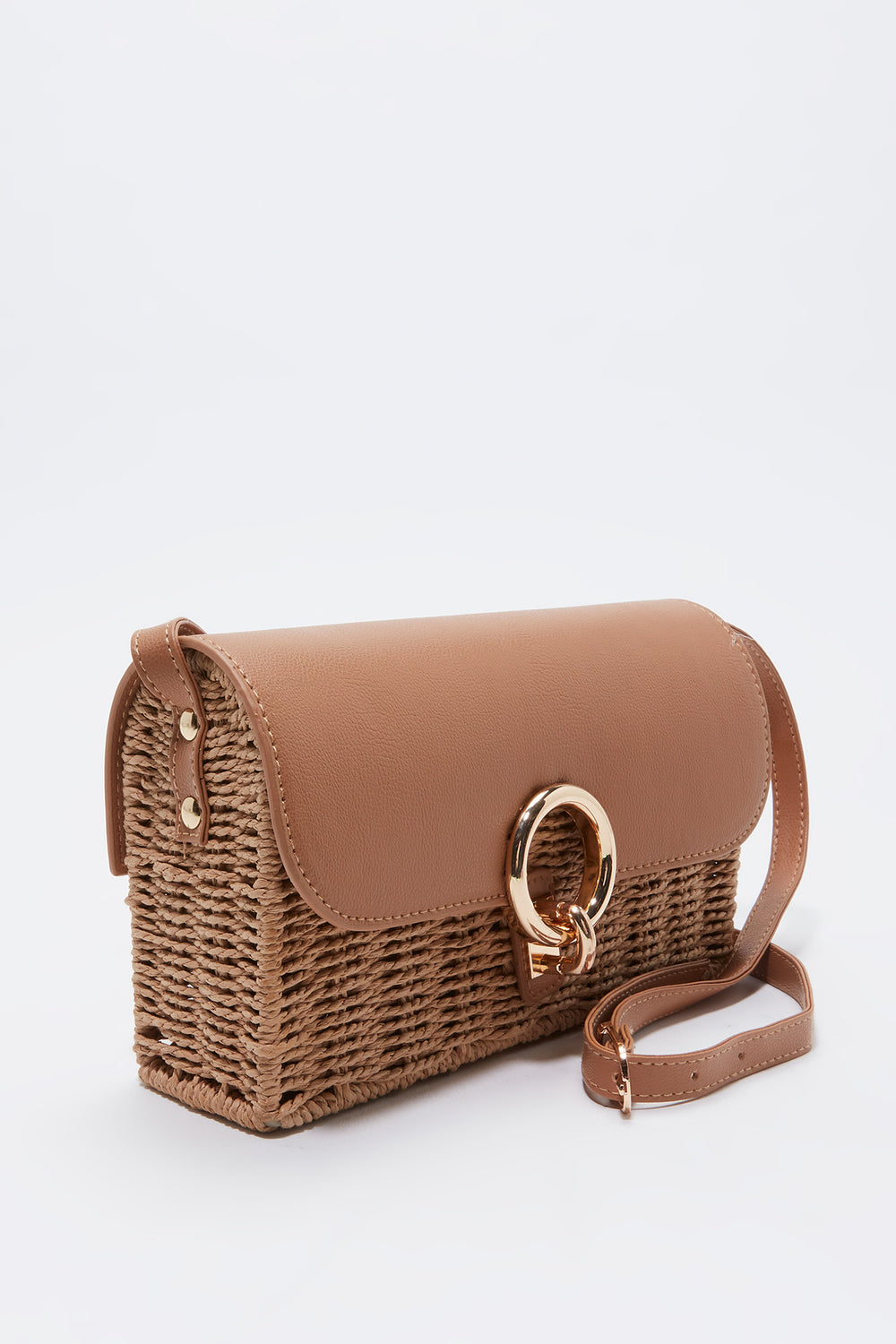 Contrast Faux Leather Crossbody Wicker Bag Natural