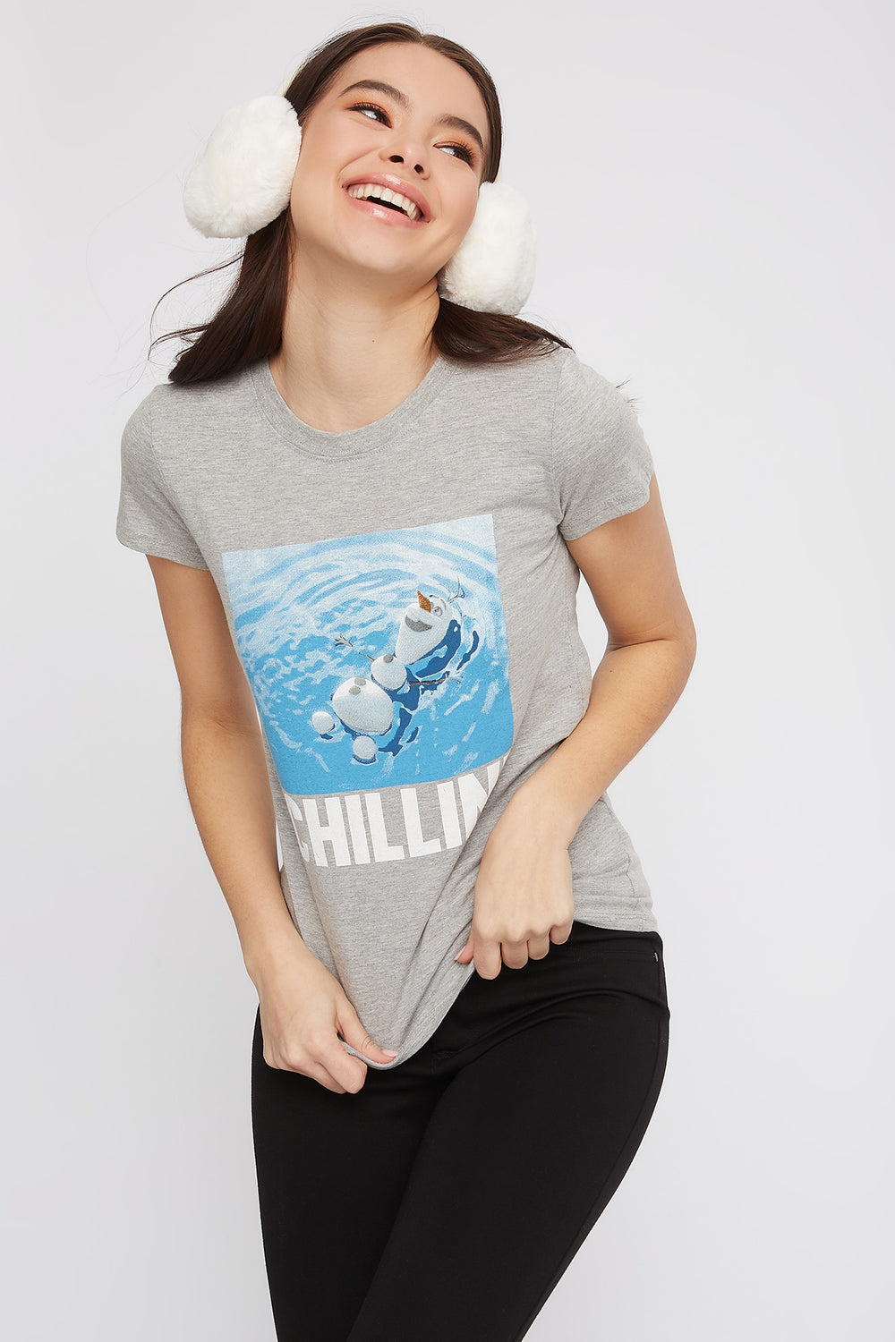 Chillin' Olaf Graphic T-Shirt Heather Grey