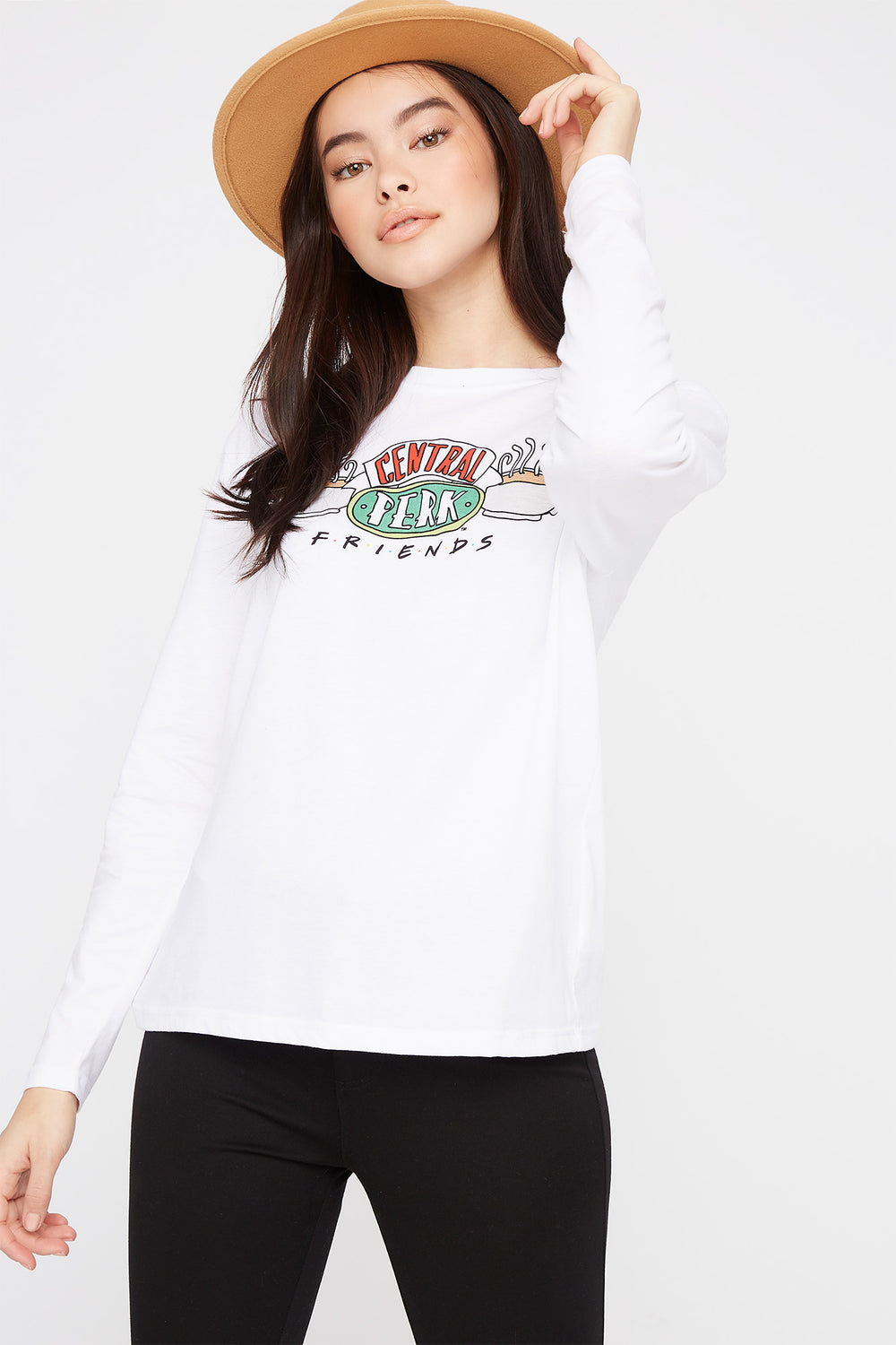 Friends Central Perk Graphic Long Sleeve White