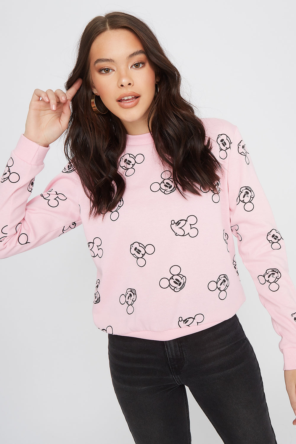 Mickey Mouse Crew Neck Sweater Light Pink