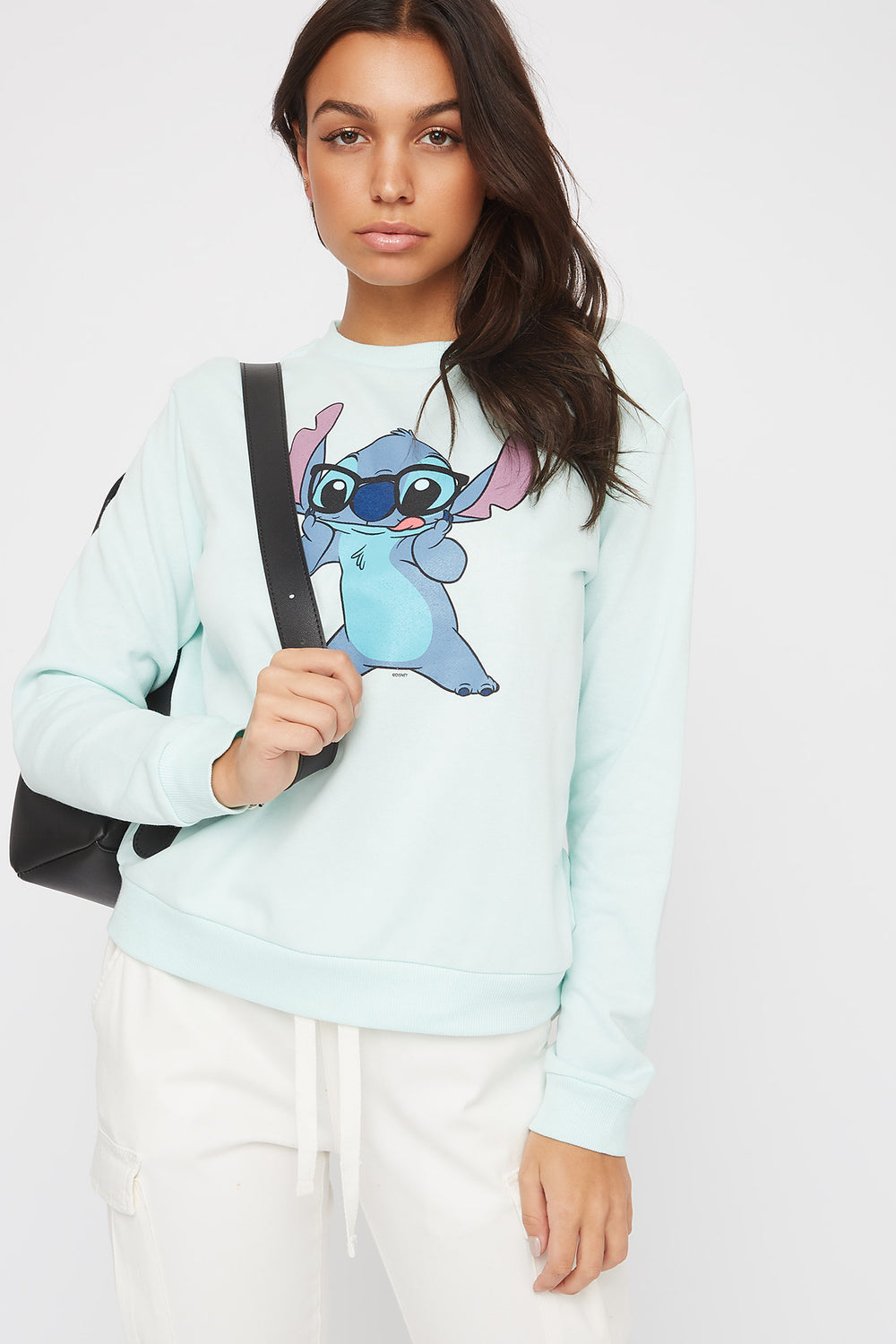 Stitch Crew Neck Sweatshirt Light Blue