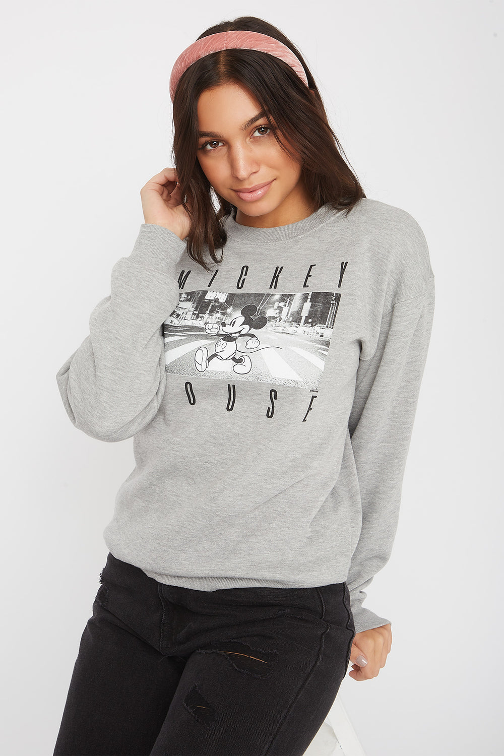 Mickey Mouse Crew Neck Sweatshirt Heather Grey