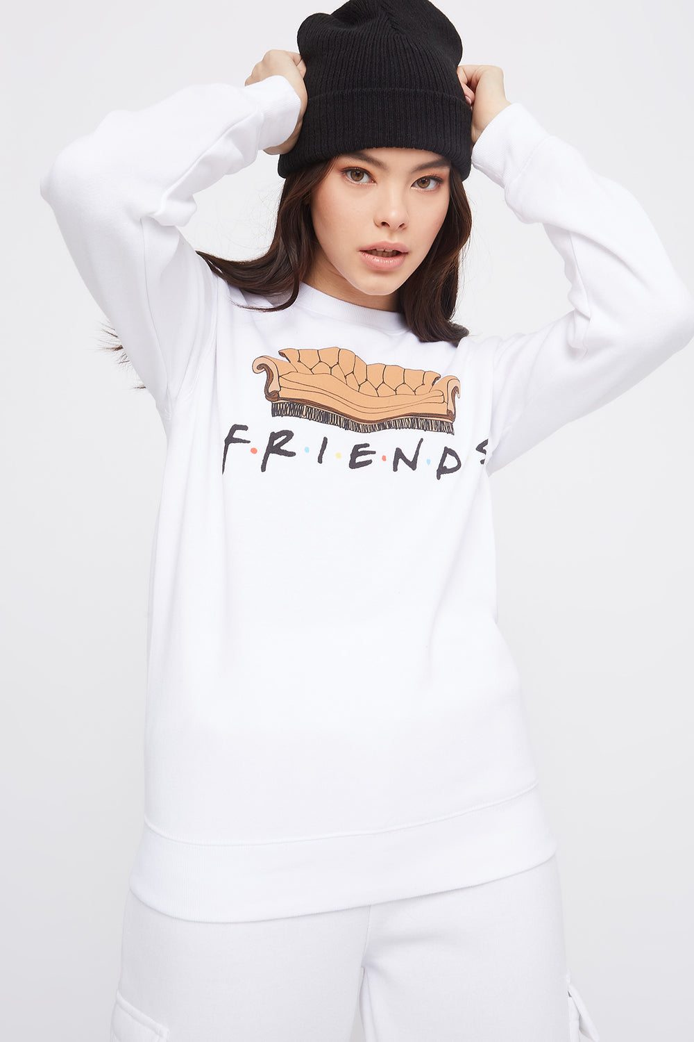 Friends Graphic Crew Neck Sweatshirt White