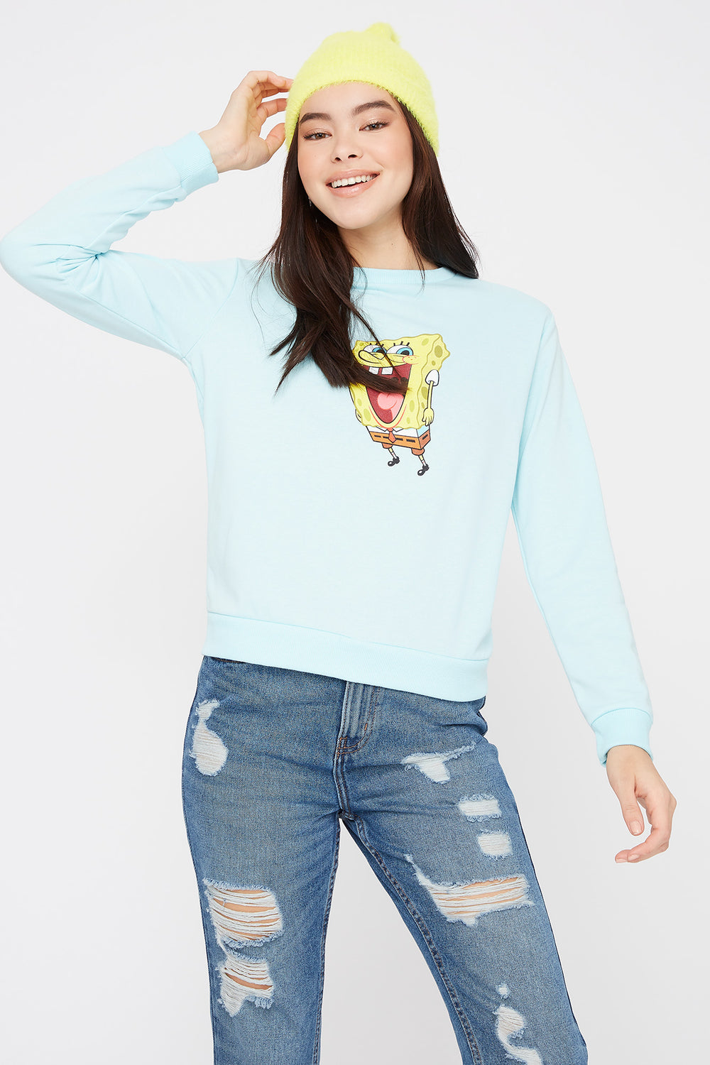 Spongebob Crew Neck Sweater Light Blue