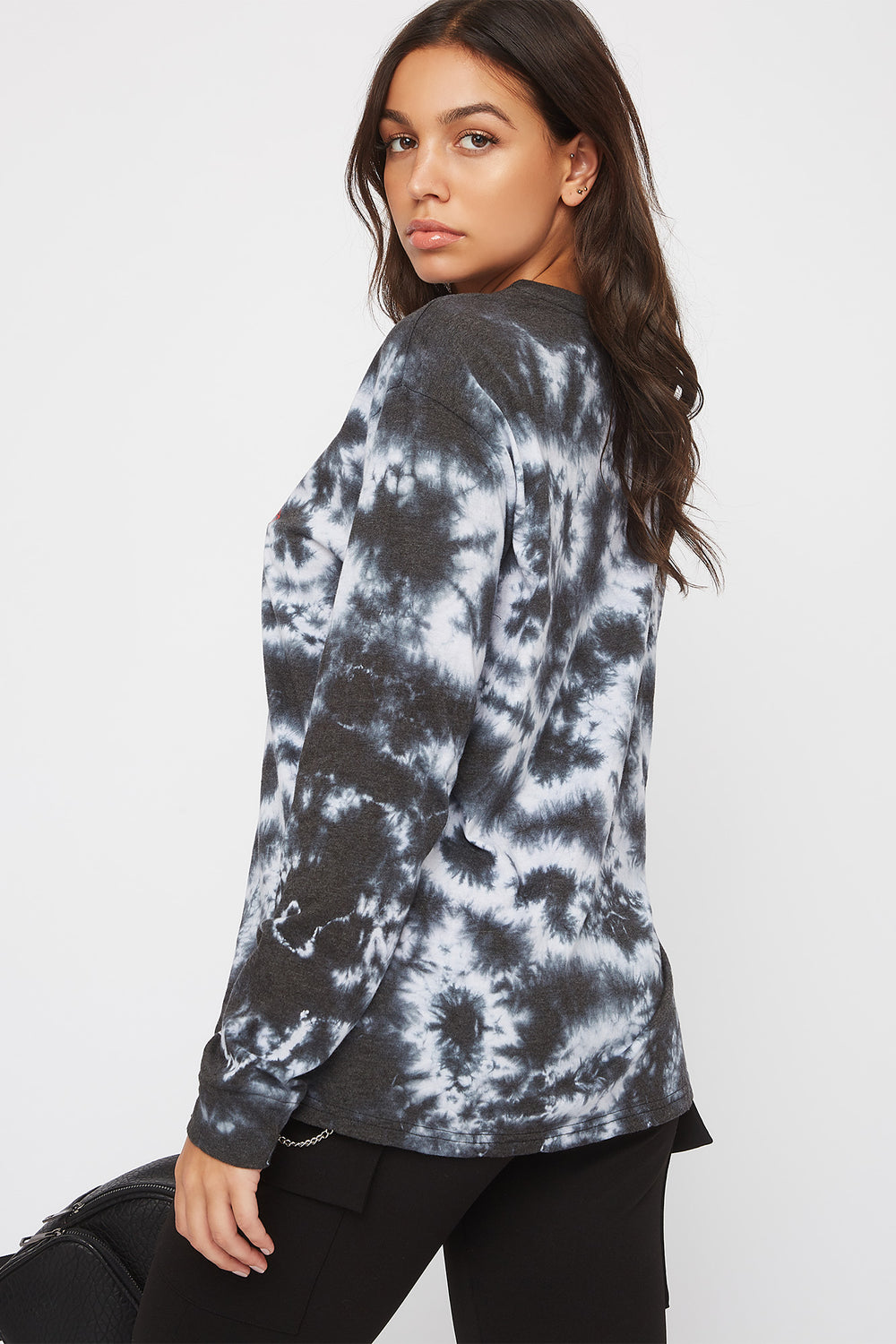Tie Dye ACDC Long Sleeve Shirt Black with White