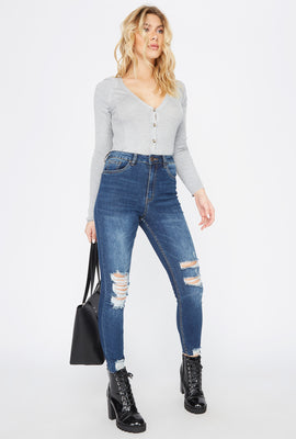 Cali Ultra High-Rise Dark Wash Distressed Skinny Jean