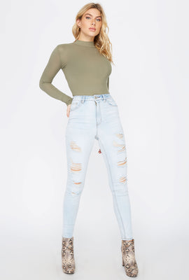 Cali Ultra High-Rise Light Wash Distressed Skinny Jean