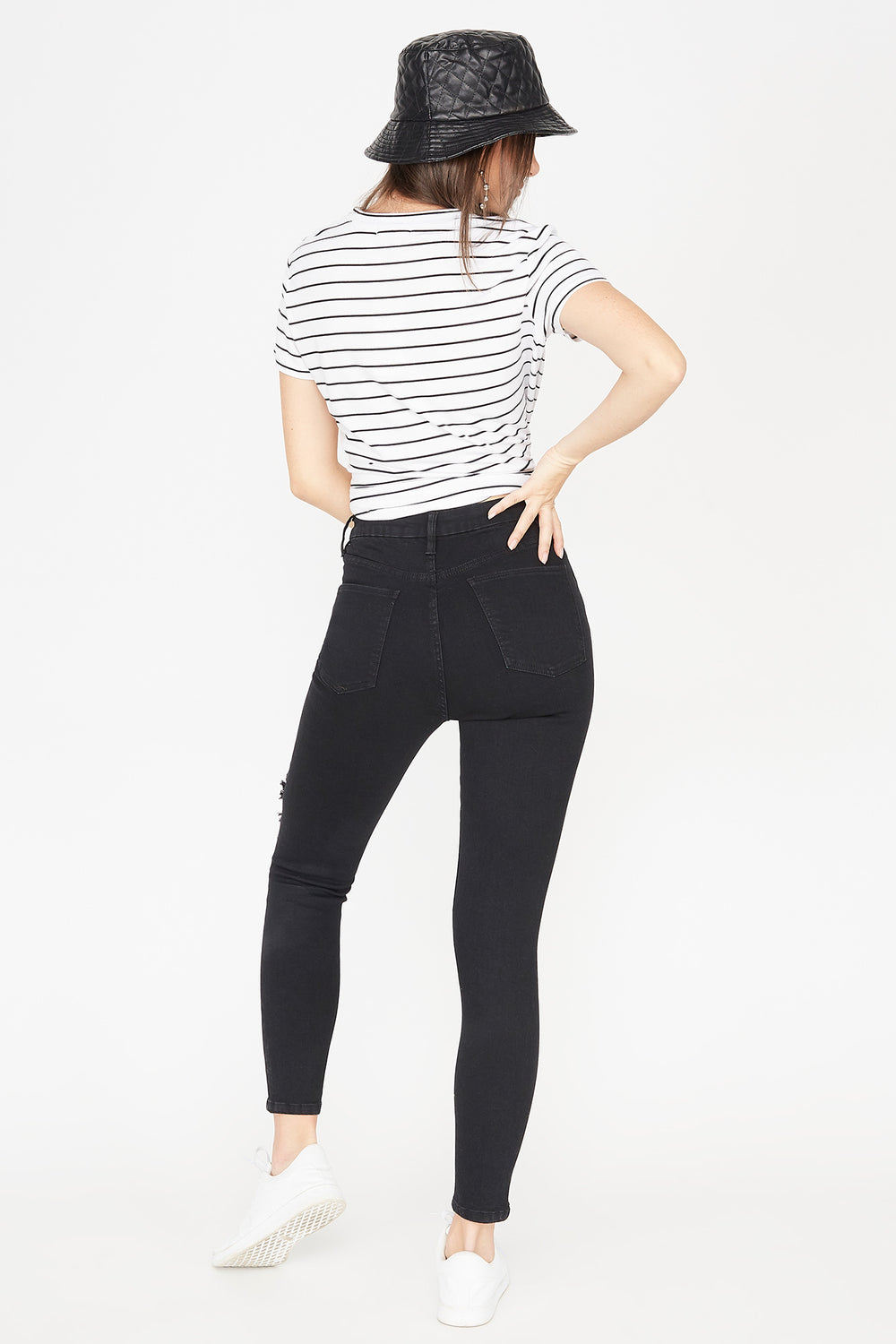 Refuge Ultra High-Rise Black Curvy Distressed Skinny Jean Black