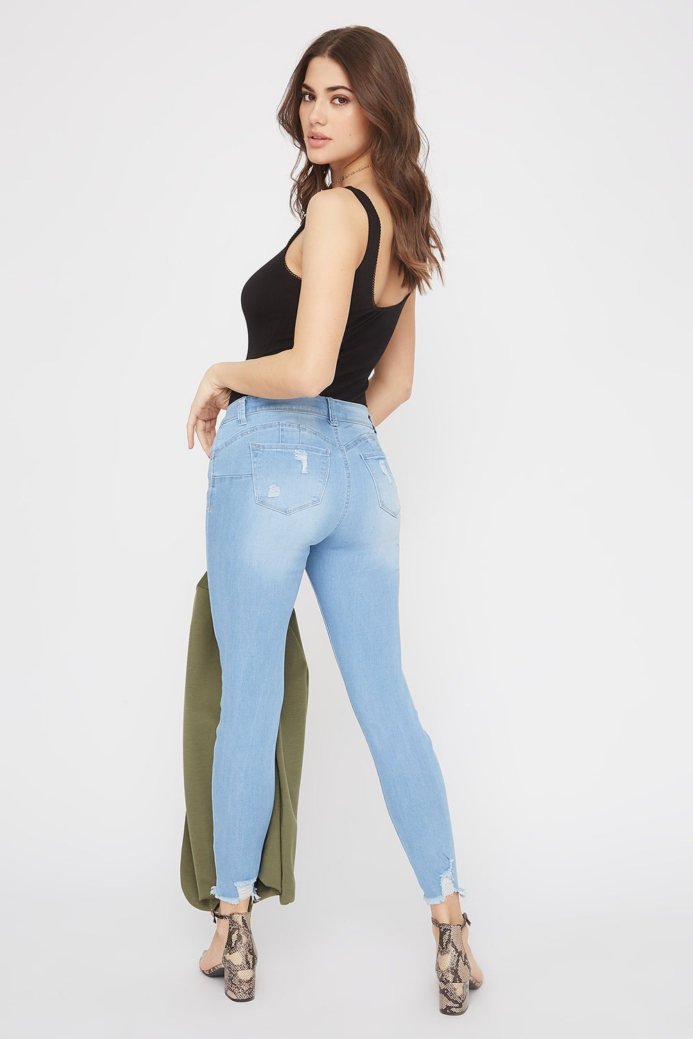 Butt, I Love You Distressed Push-Up Skinny Jean Light Denim Blue