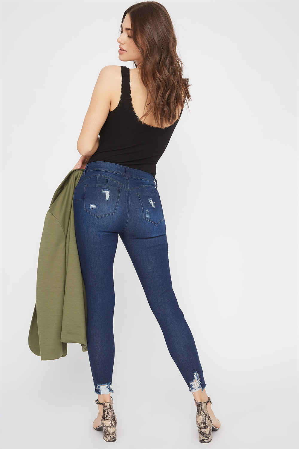 Butt, I Love You Distressed Push-Up Skinny Jean Denim Blue