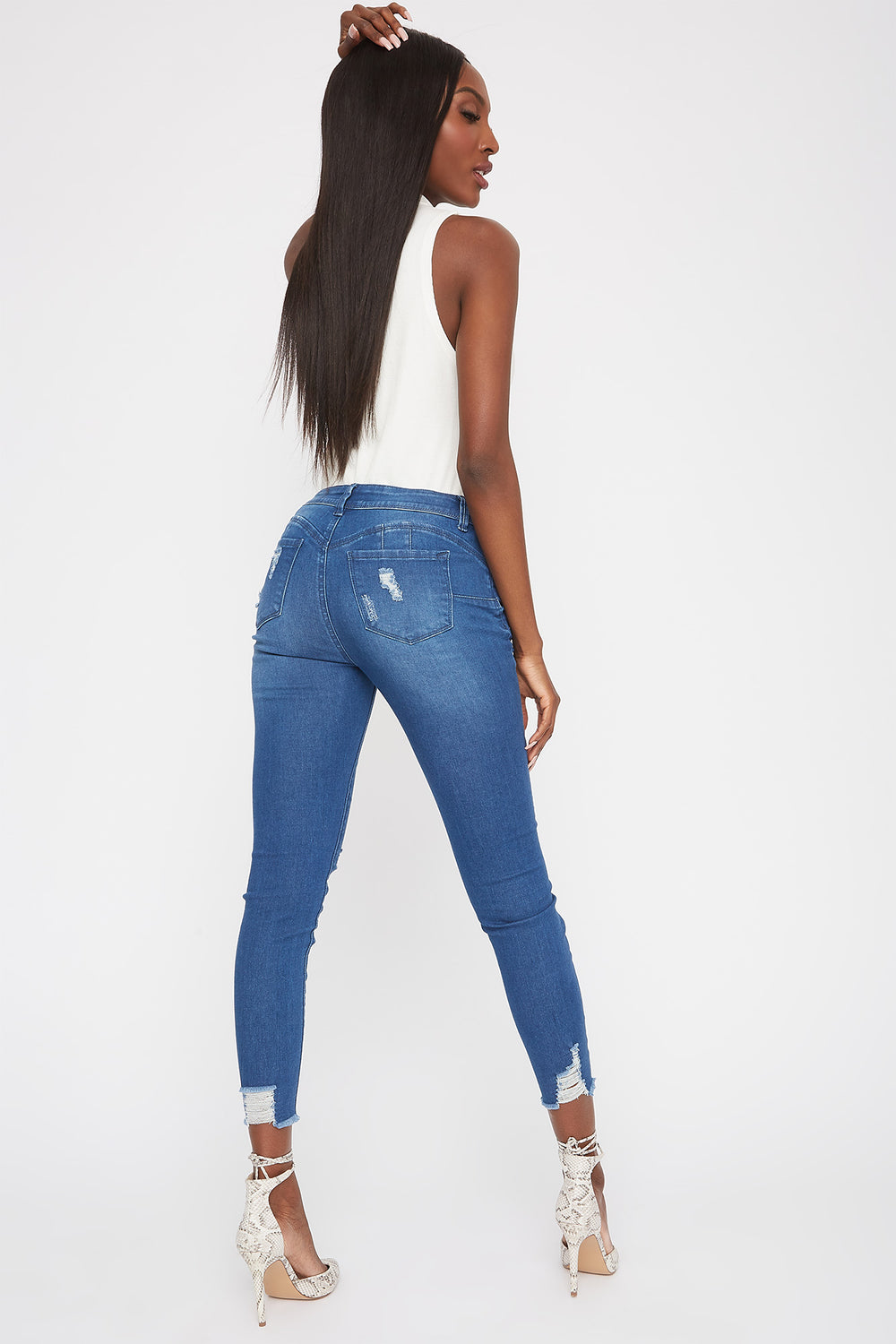 Butt, I Love You Distressed Push-Up Skinny Jean Medium Blue
