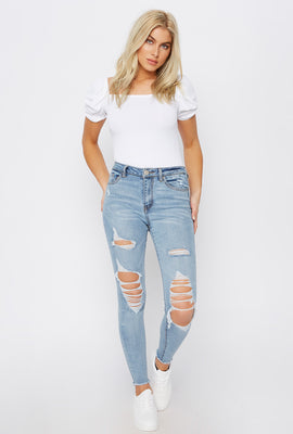 Miami High-Rise Acid Wash Distressed Super Skinny Jean