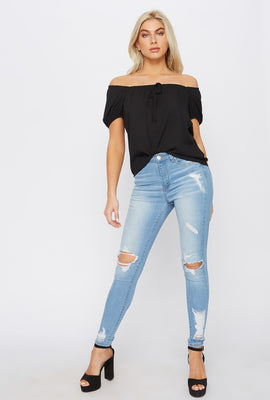 Miami High-Rise Distressed Light Wash Super Skinny Jean