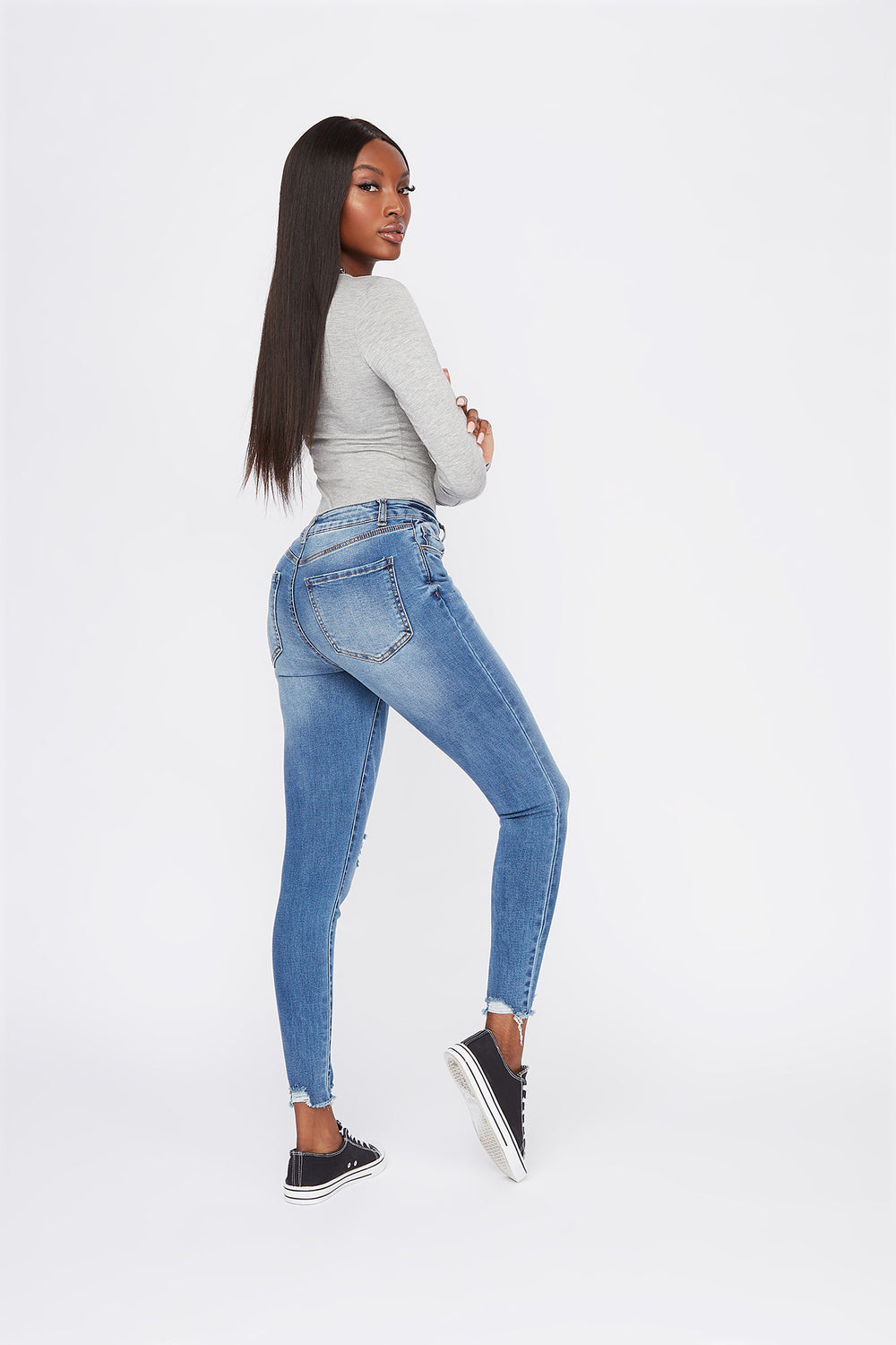 Miami High-Rise Distressed Medium Wash Super Skinny Jean Denim Blue