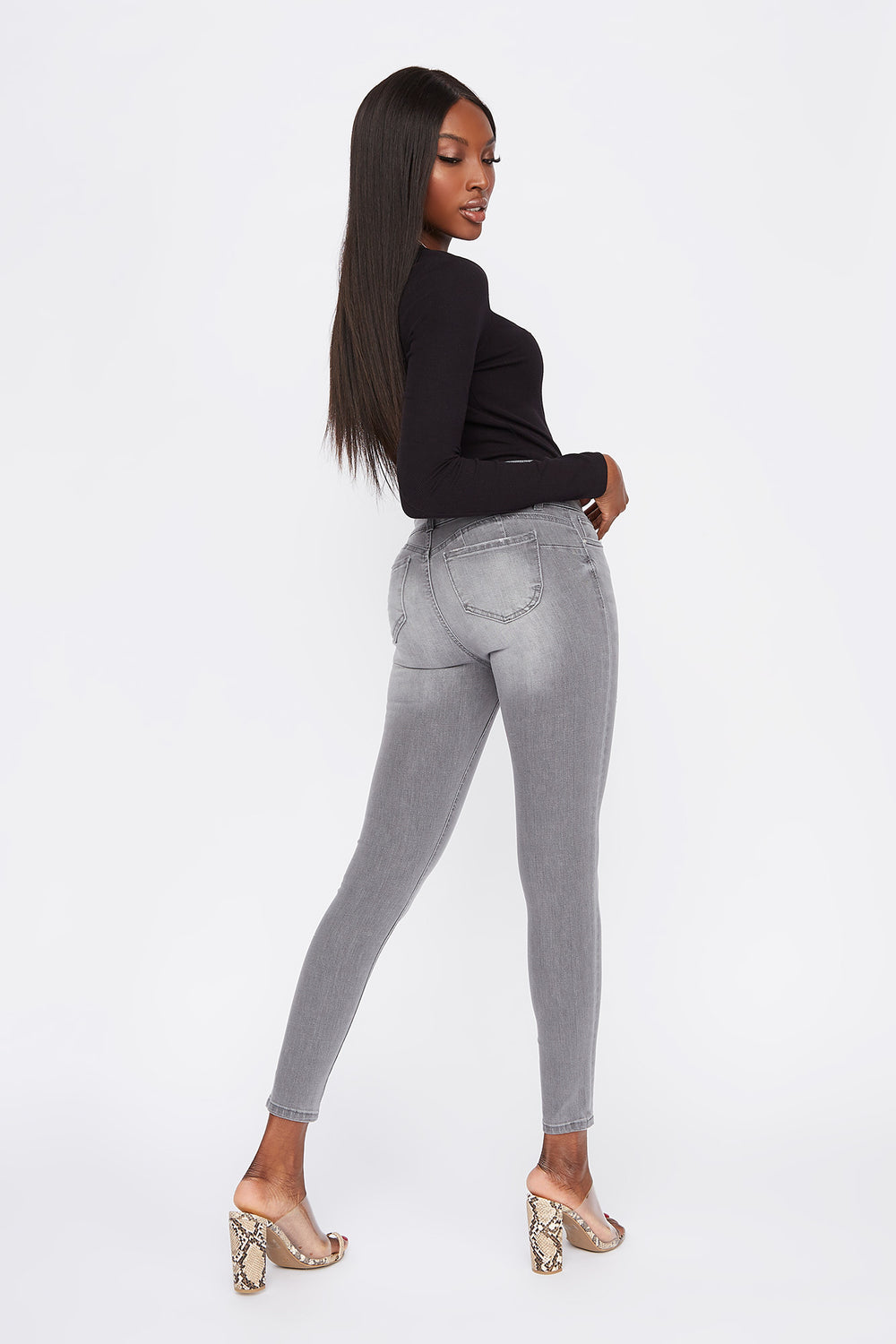 Ibiza 3-Tier High-Rise Push-Up Skinny Jean Heather Grey