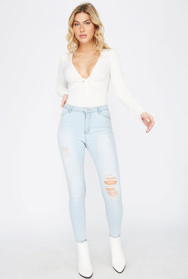 Madrid High-Rise Light Wash Distressed Jegging