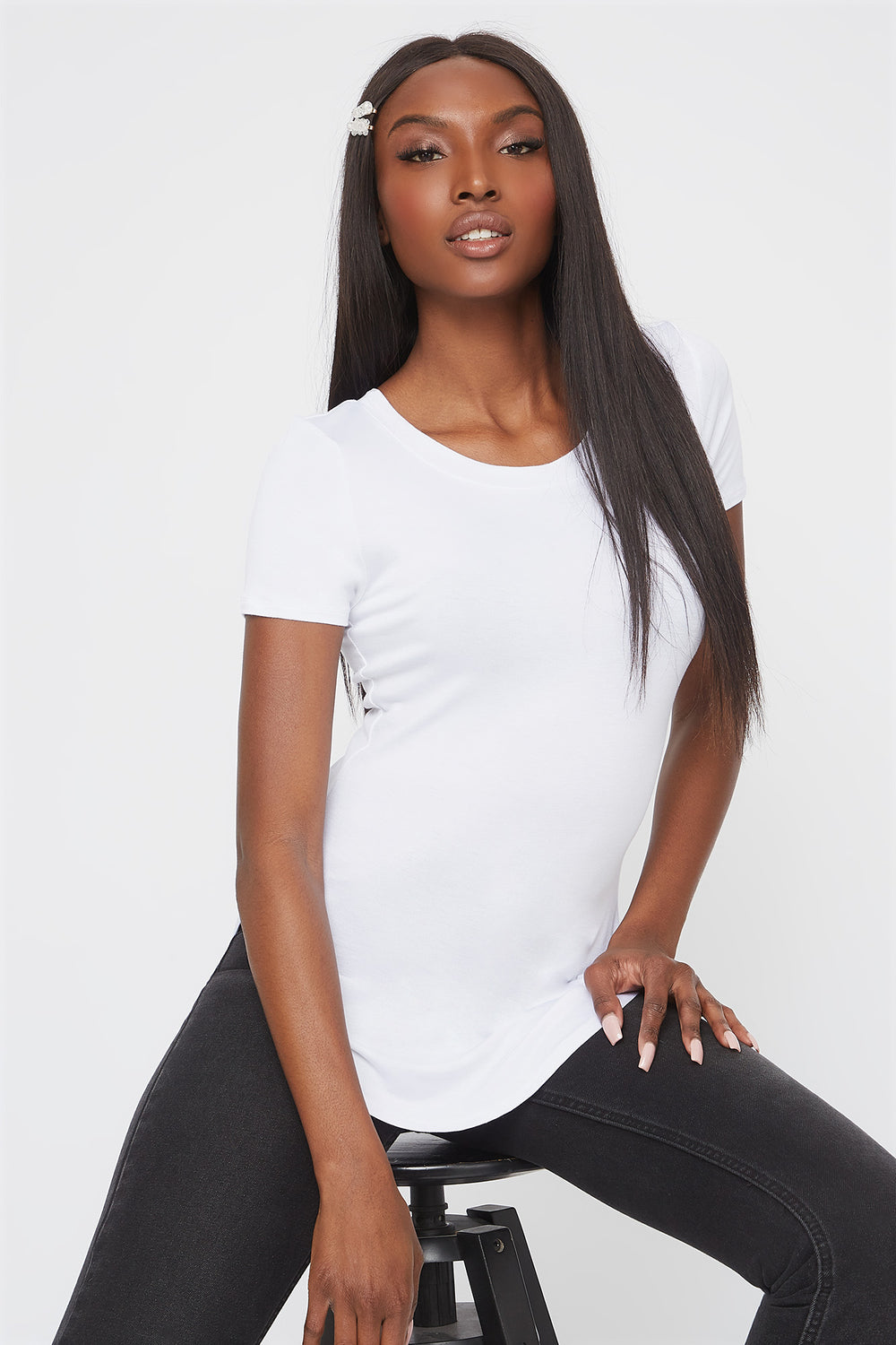 Basic Curve Hem T-Shirt White