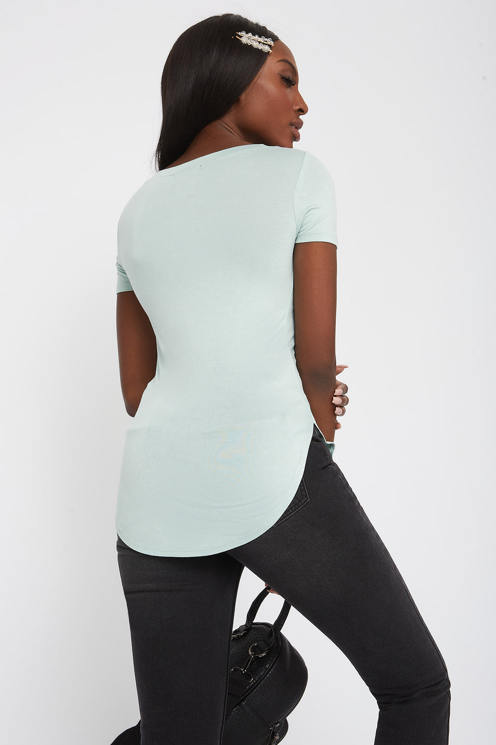 Basic Curve Hem T-Shirt Light Blue