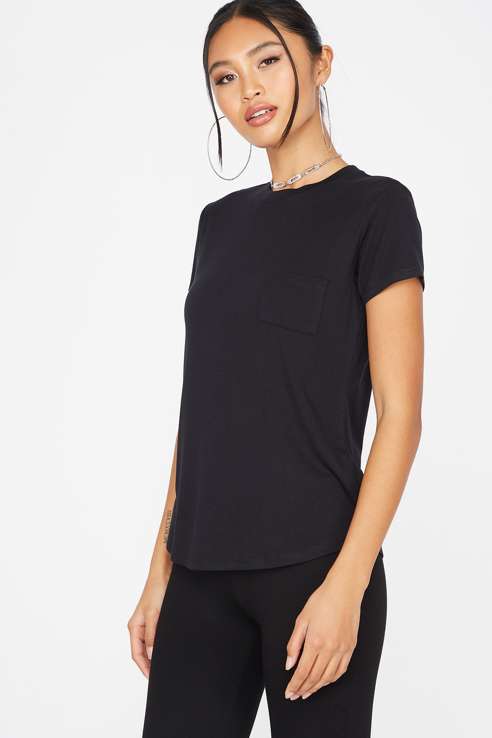 Relaxed Crew Neck Pocket T-Shirt Black