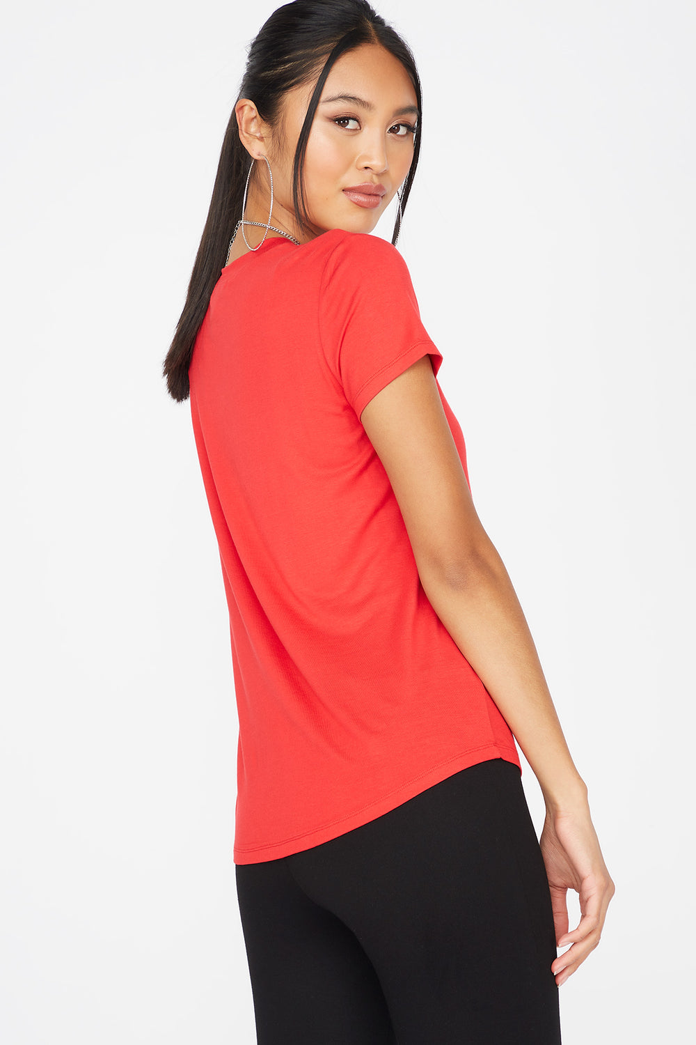 Relaxed Crew Neck Pocket T-Shirt Red