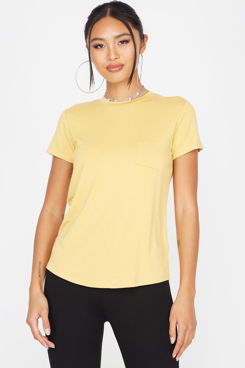 Relaxed Crew Neck Pocket T-Shirt Mustard