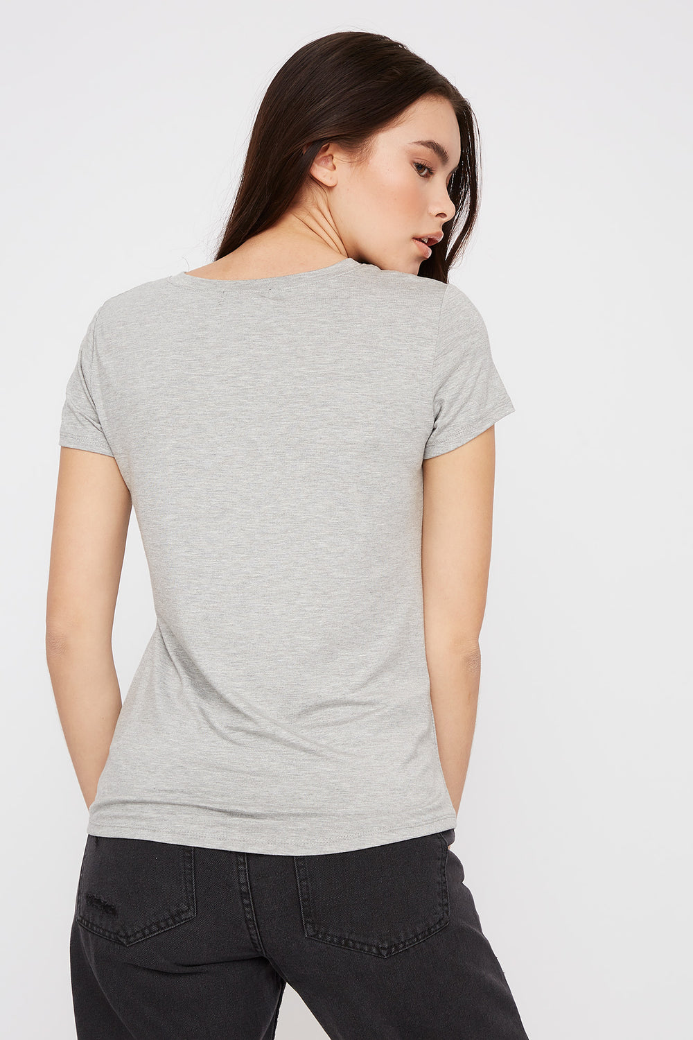 V-Neck Relaxed Pocket T-Shirt Heather Grey