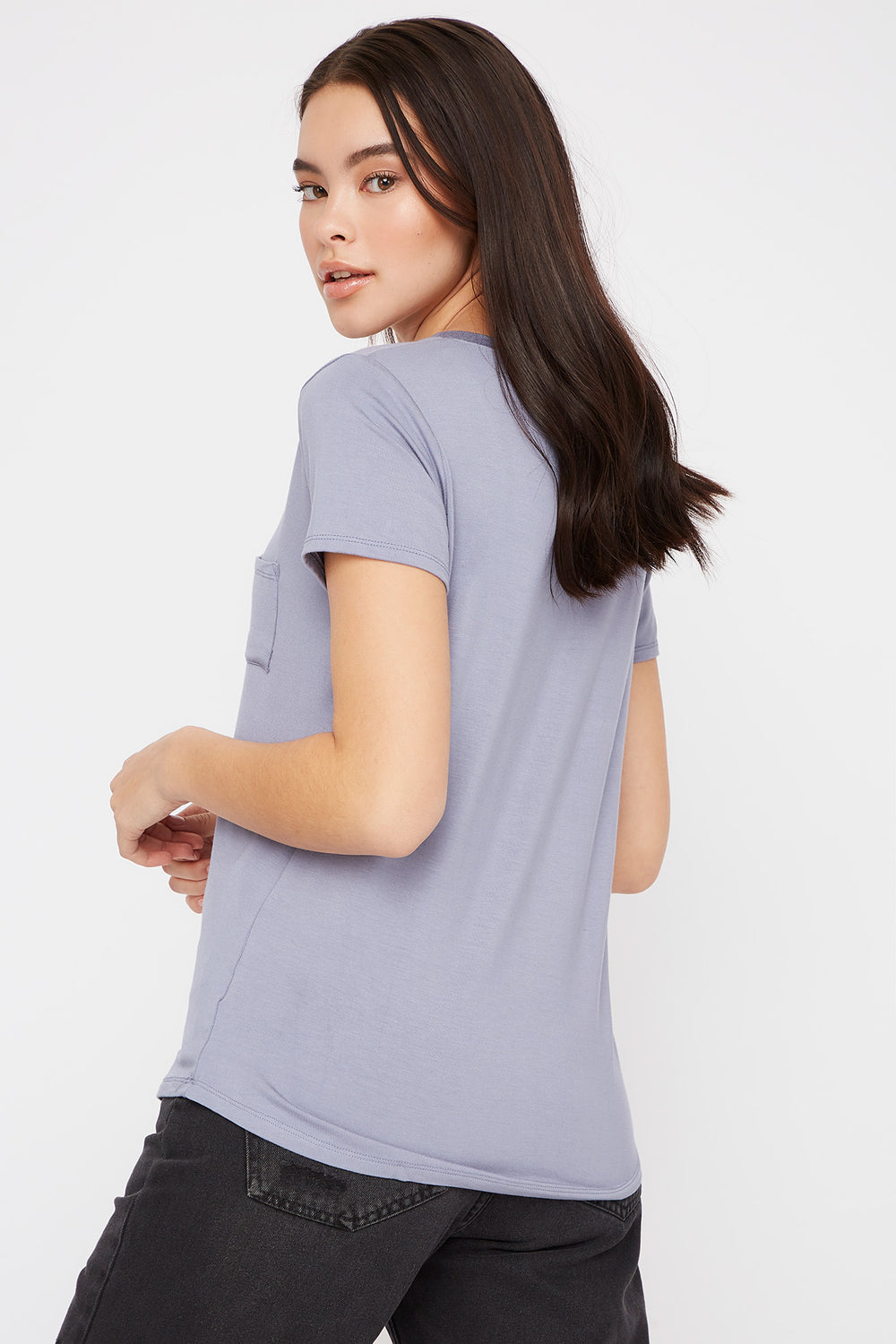 V-Neck Relaxed Pocket T-Shirt Ocean Blue