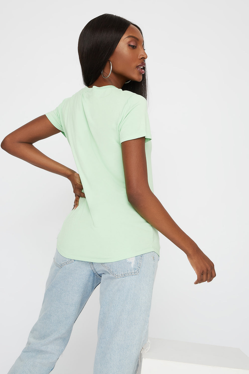 Relaxed V-Neck T-Shirt Neon Green
