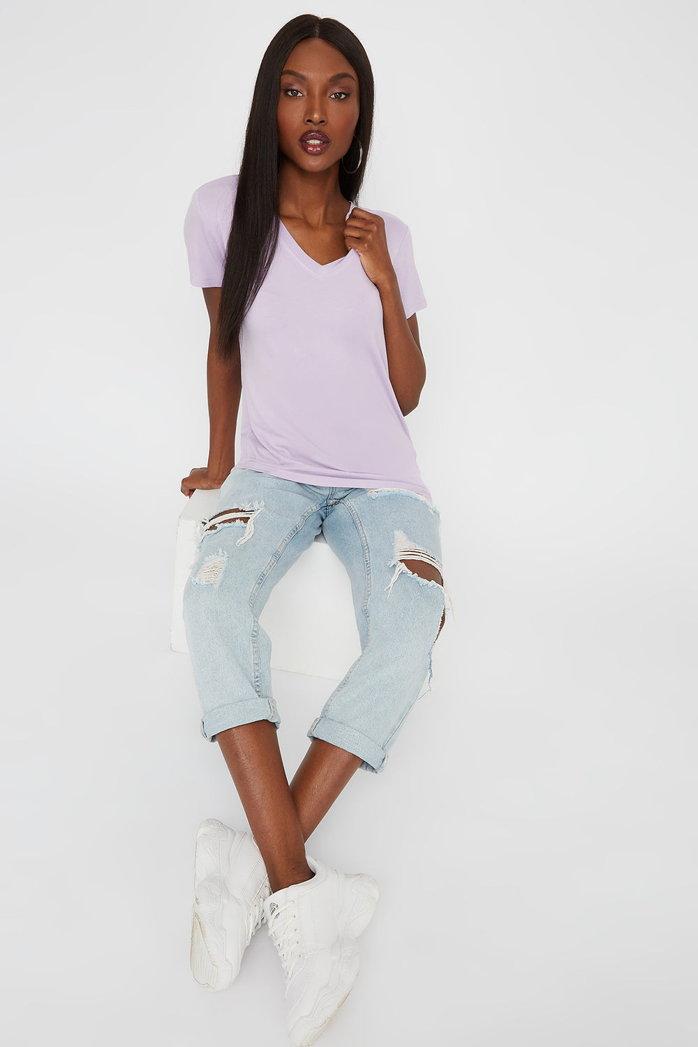 Relaxed V-Neck T-Shirt Lilac