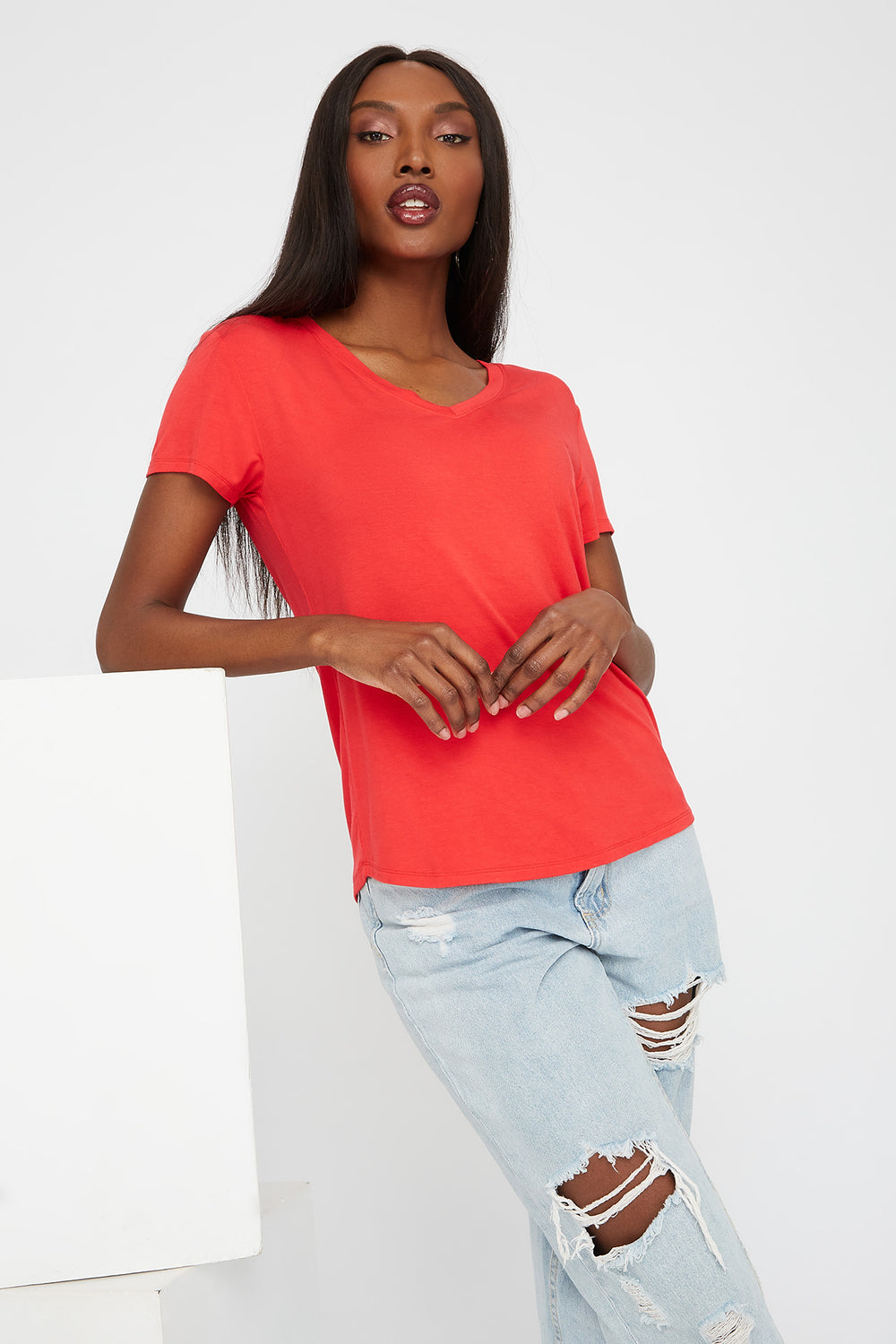 Relaxed V-Neck T-Shirt Red