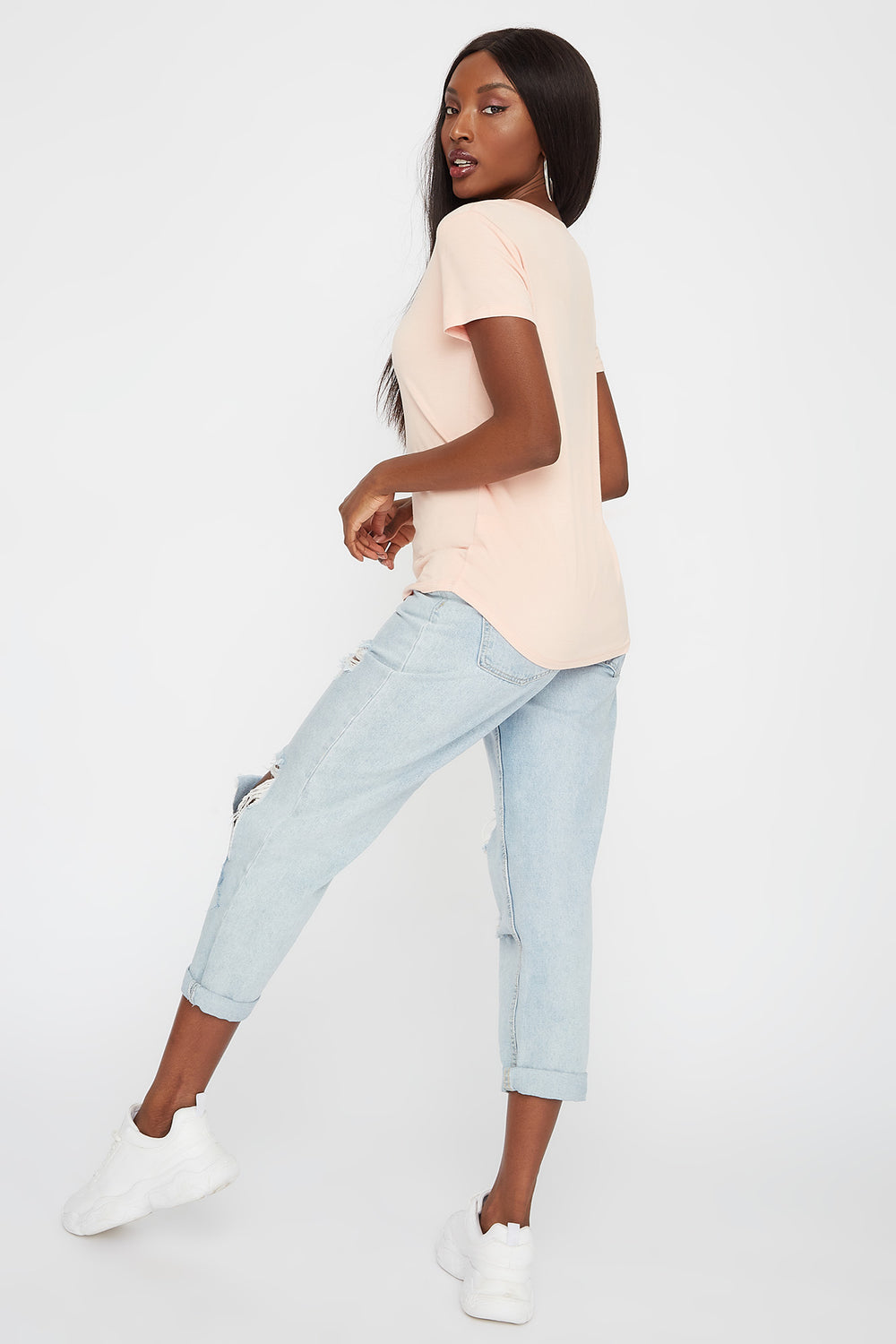 Relaxed V-Neck T-Shirt Peach