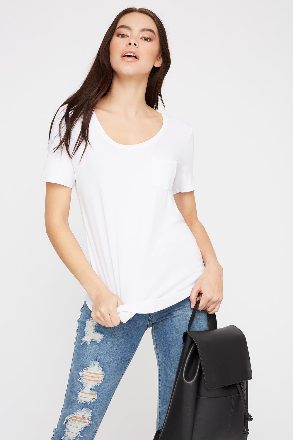 Scoop Neck Relaxed T-Shirt White