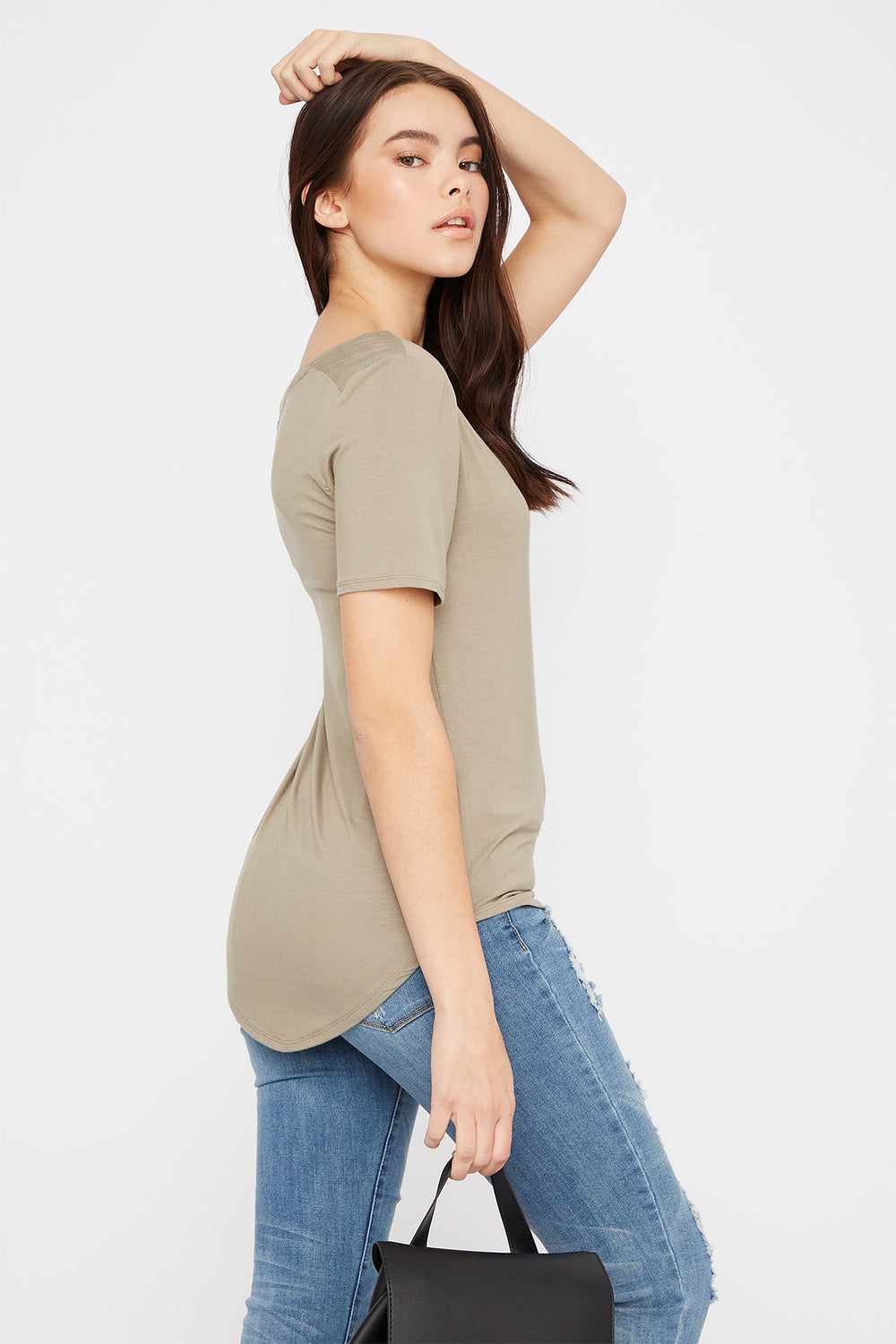 Scoop Neck Relaxed T-Shirt Dark Green