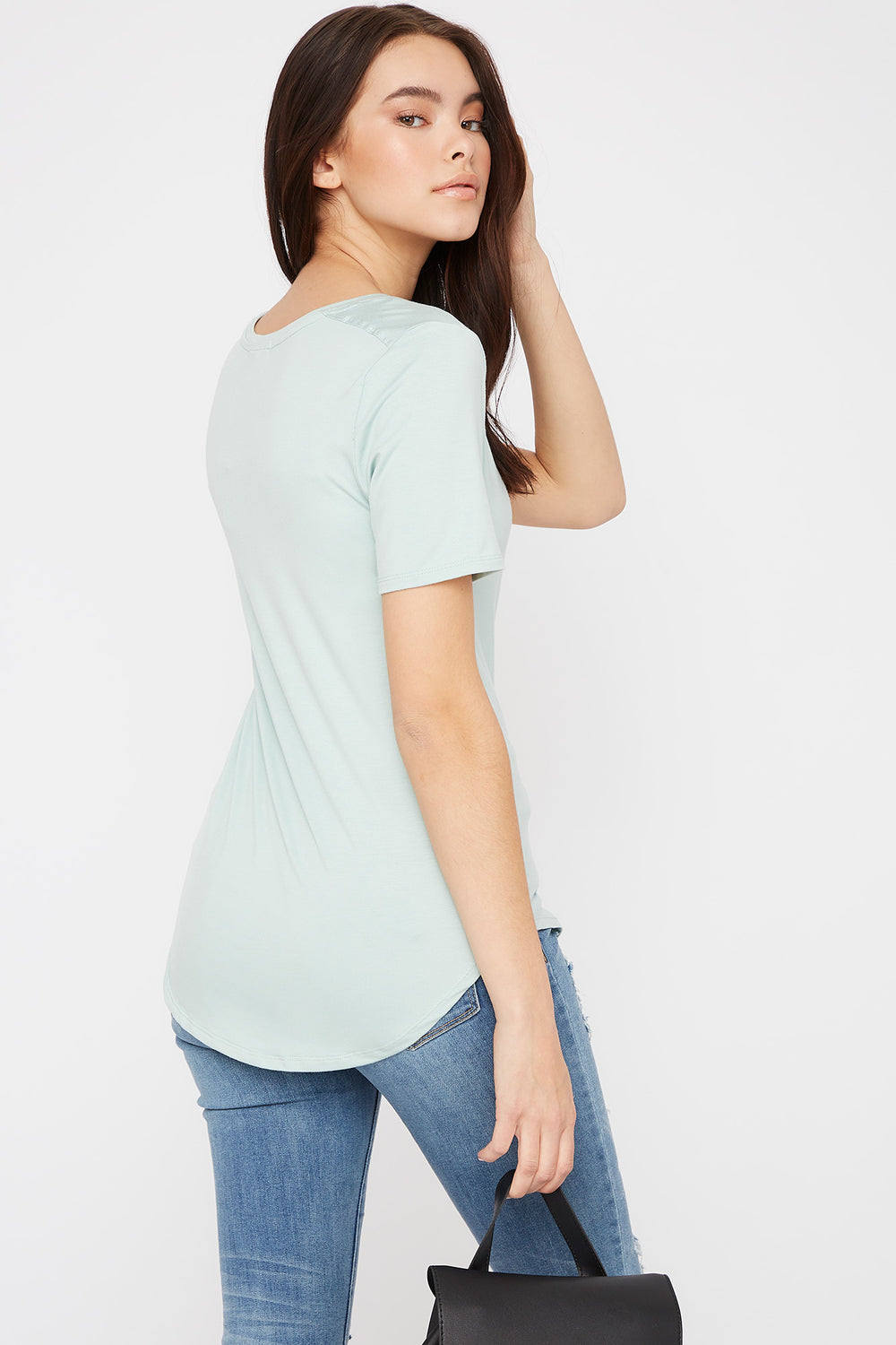 Scoop Neck Relaxed T-Shirt Turquoise