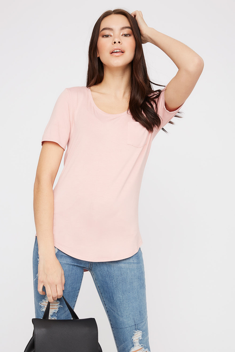 Scoop Neck Relaxed T-Shirt Light Pink