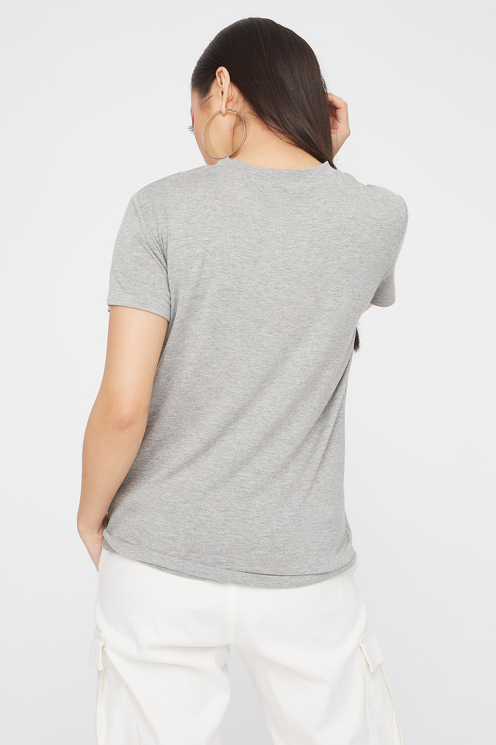 Relaxed Crew Neck Pocket T-Shirt Heather Grey