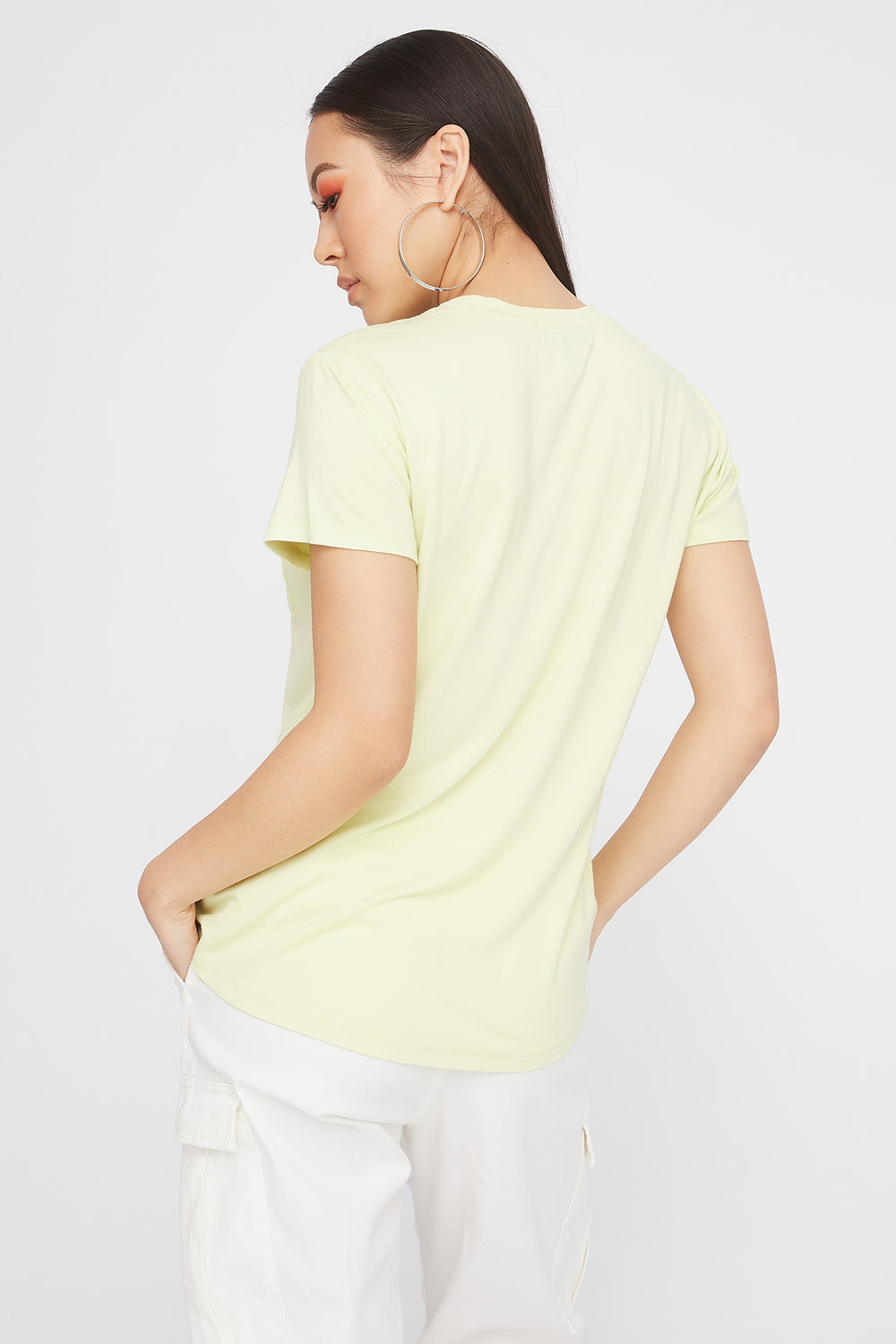 Relaxed Crew Neck Pocket T-Shirt Neon Yellow