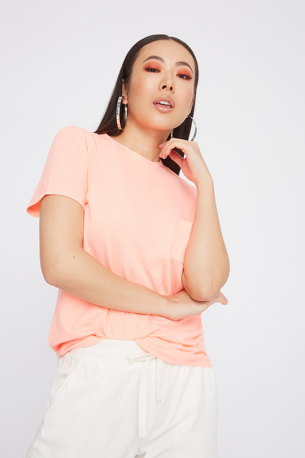 Relaxed Crew Neck Pocket T-Shirt Neon Pink