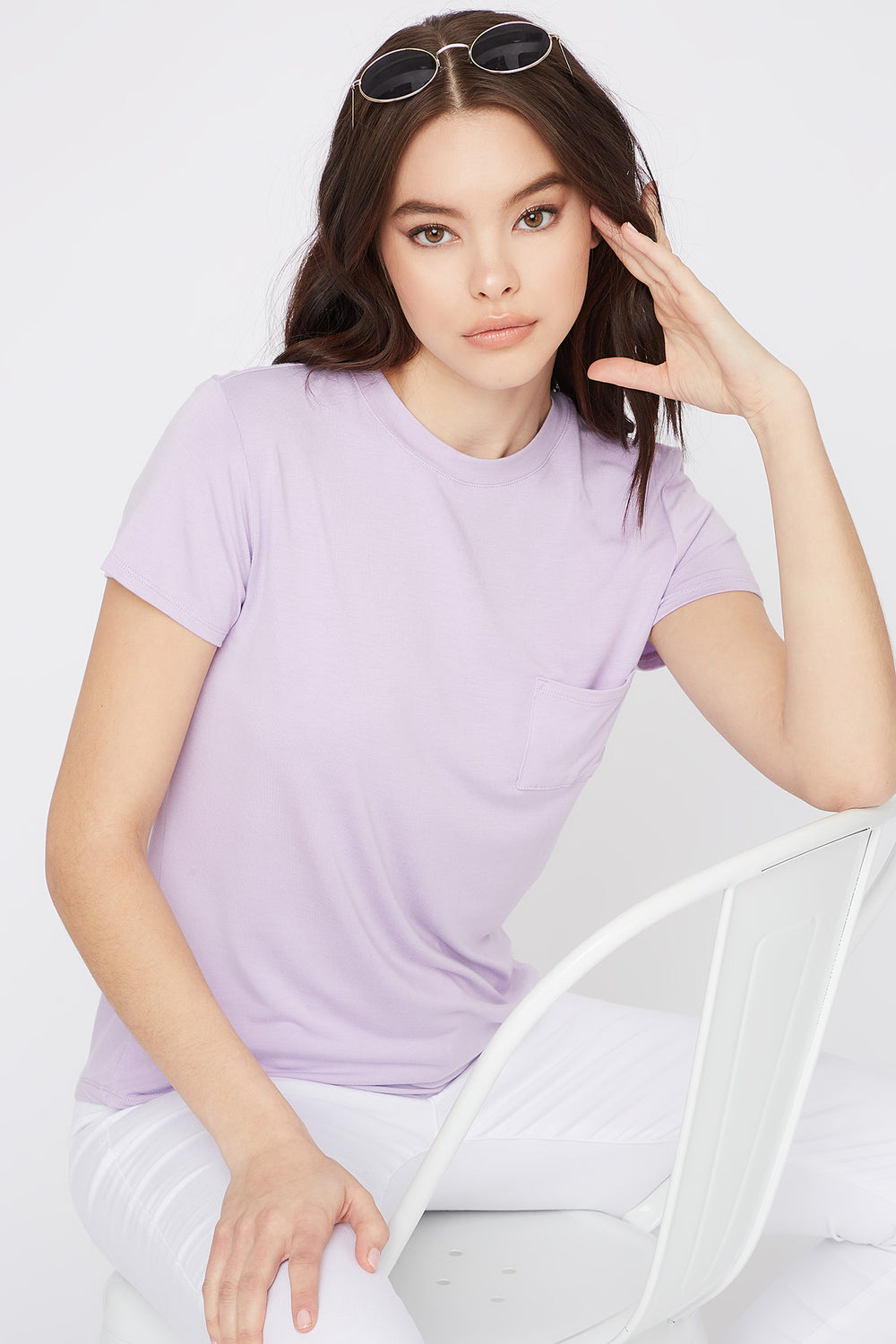 Relaxed Crew Neck Pocket T-Shirt Lilac