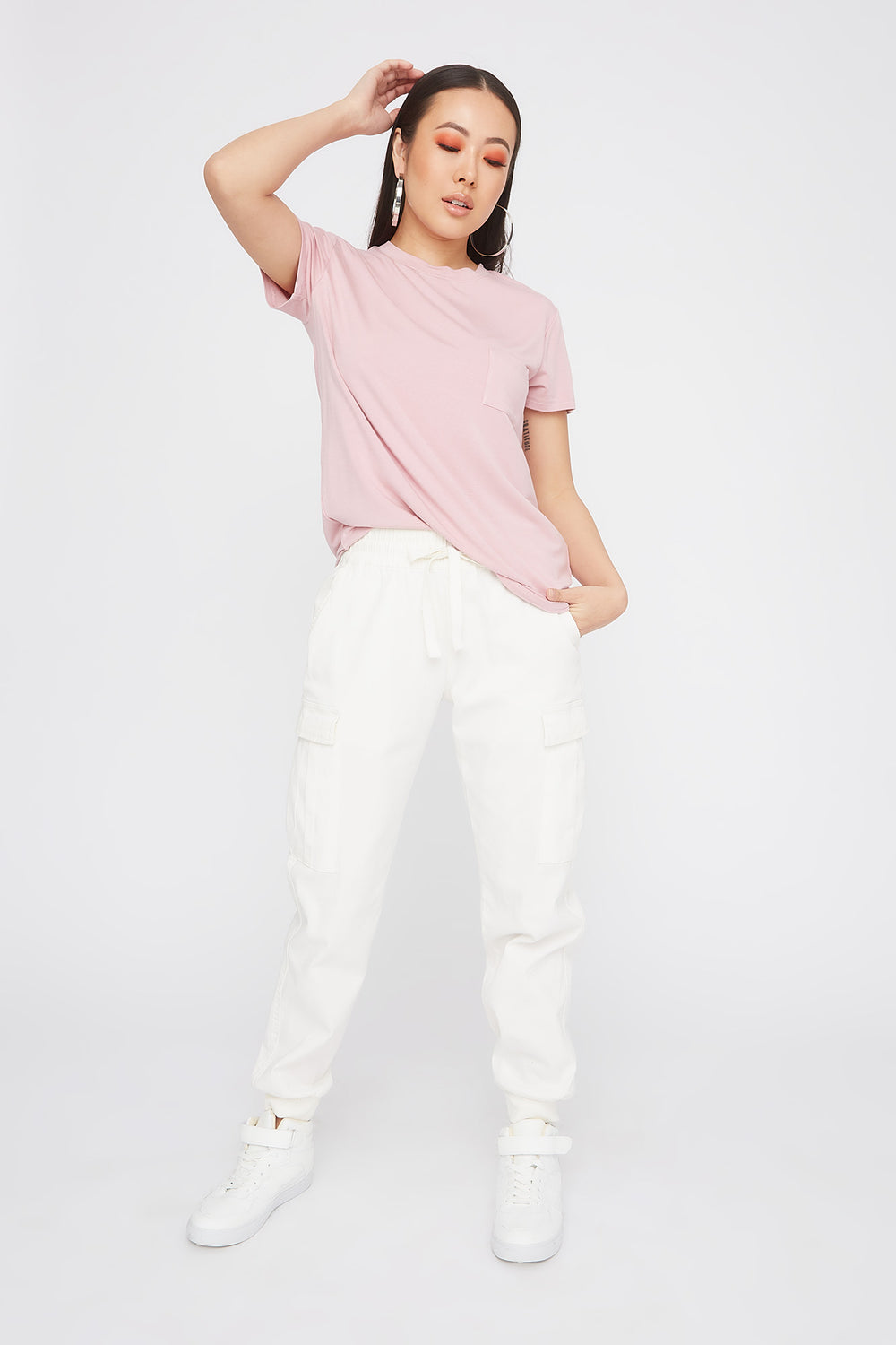 Relaxed Crew Neck Pocket T-Shirt Dusty Rose
