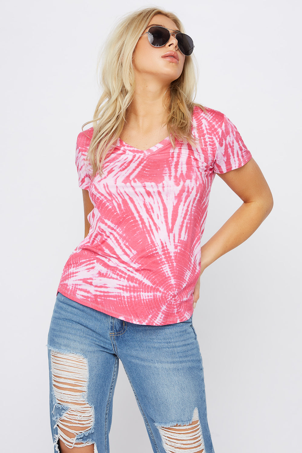 Relaxed Tye Die V-Neck T-Shirt Magenta