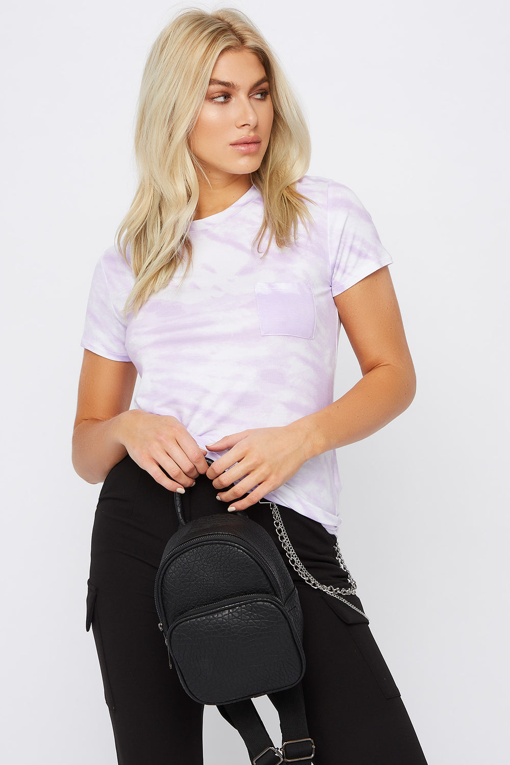 Relaxed Tye Die Pocket T-Shirt Lilac