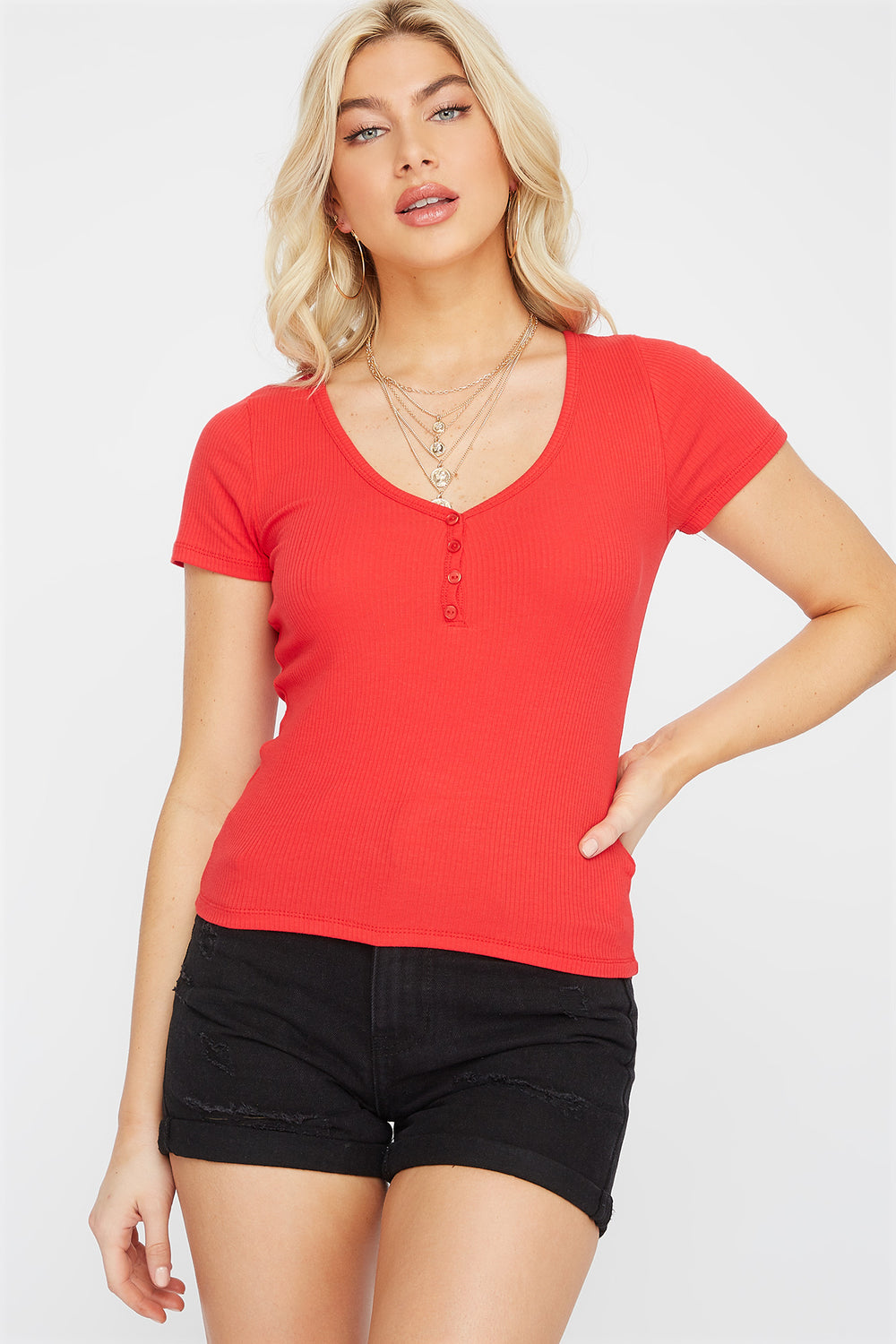Ribbed V-Neck Button T-Shirt Red
