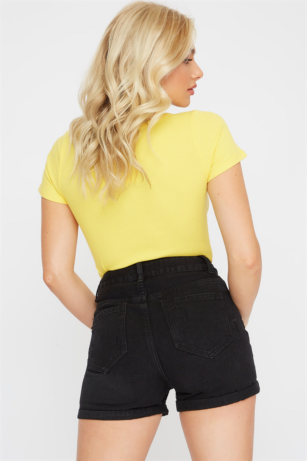 Ribbed V-Neck Button T-Shirt Yellow