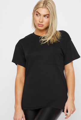 Solid Crew Neck Pocket T-Shirt