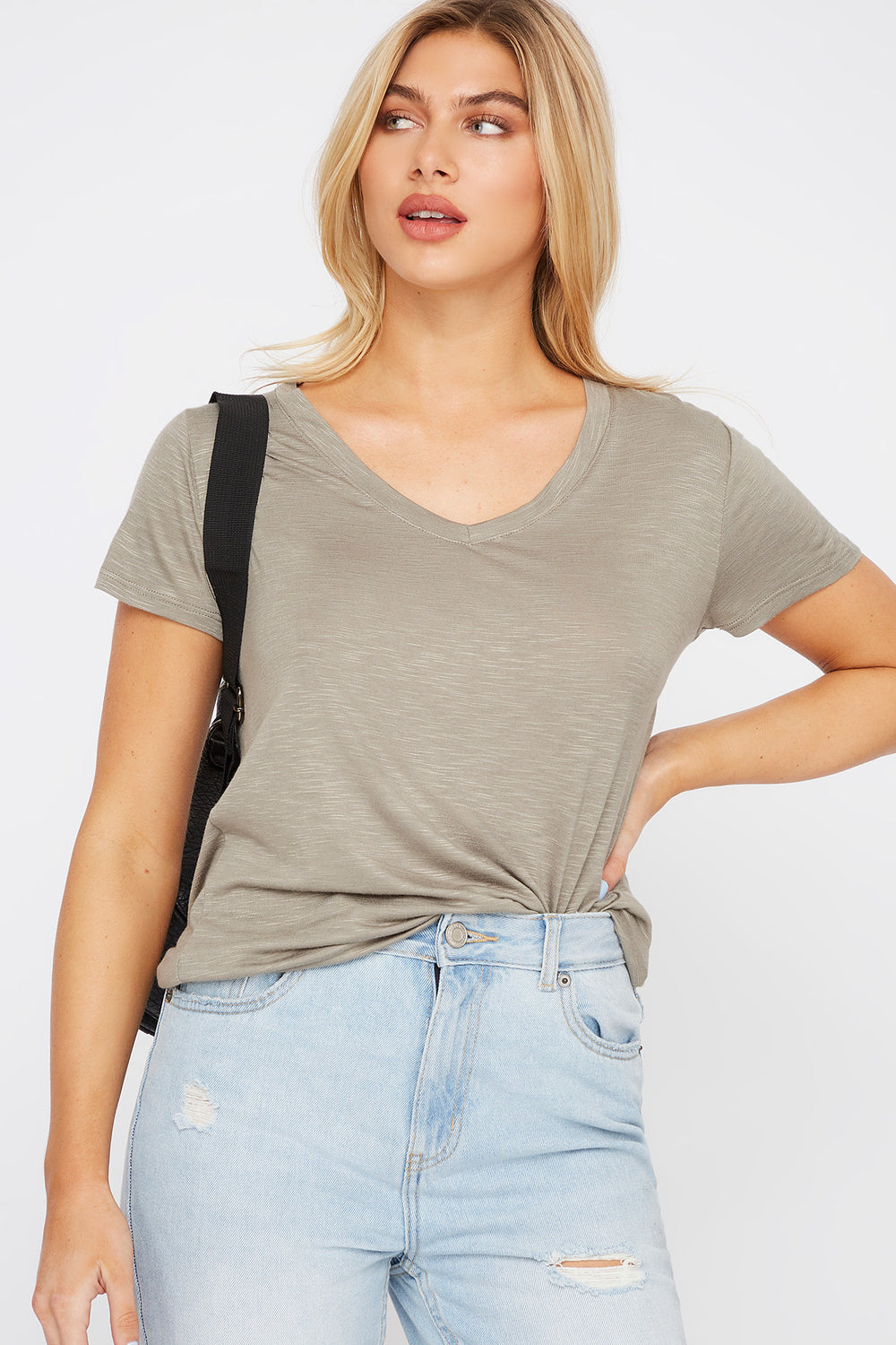 Soft V-Neck T-Shirt Dark Green