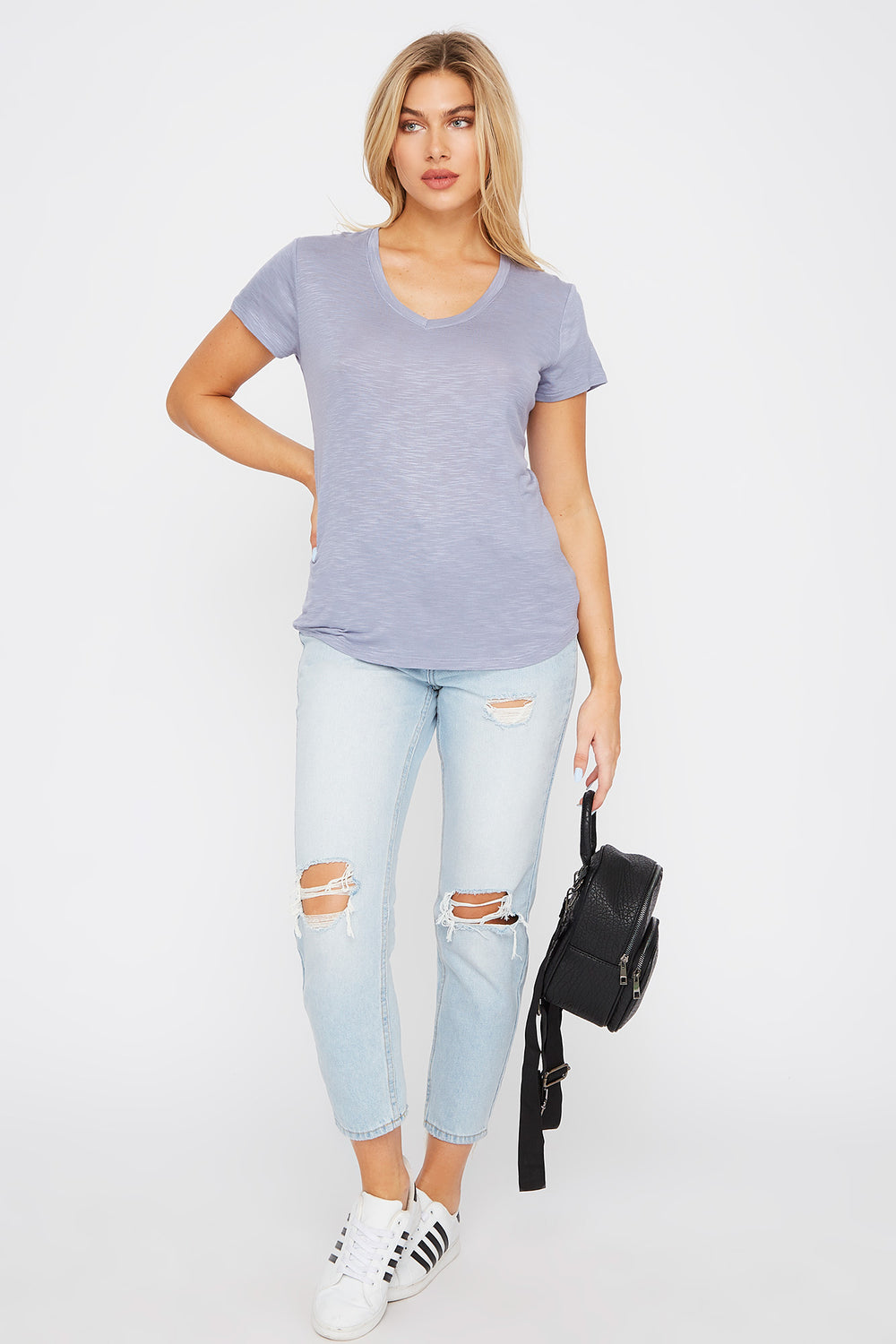 Soft V-Neck T-Shirt Ocean Blue