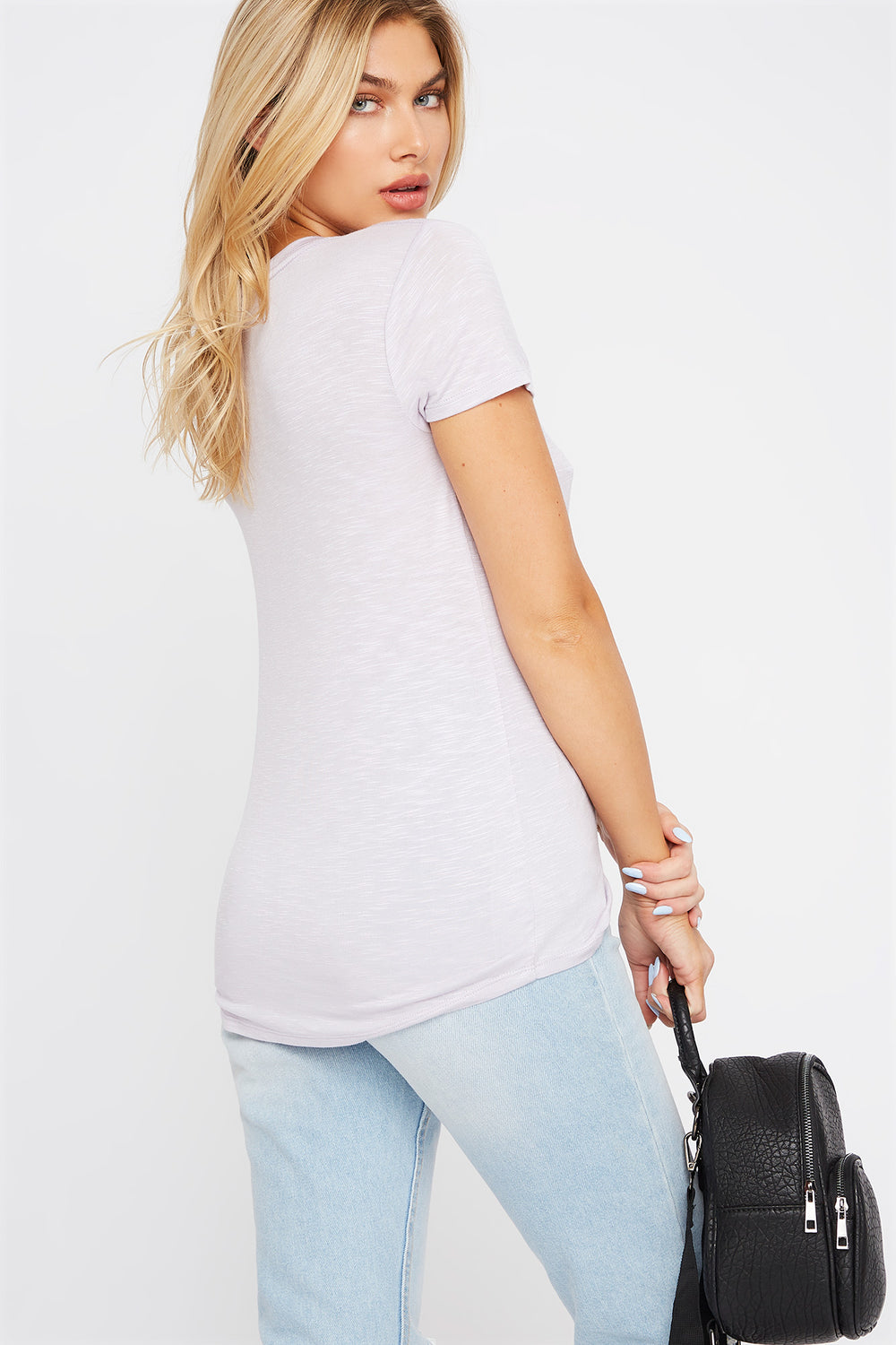 Soft V-Neck T-Shirt Lilac