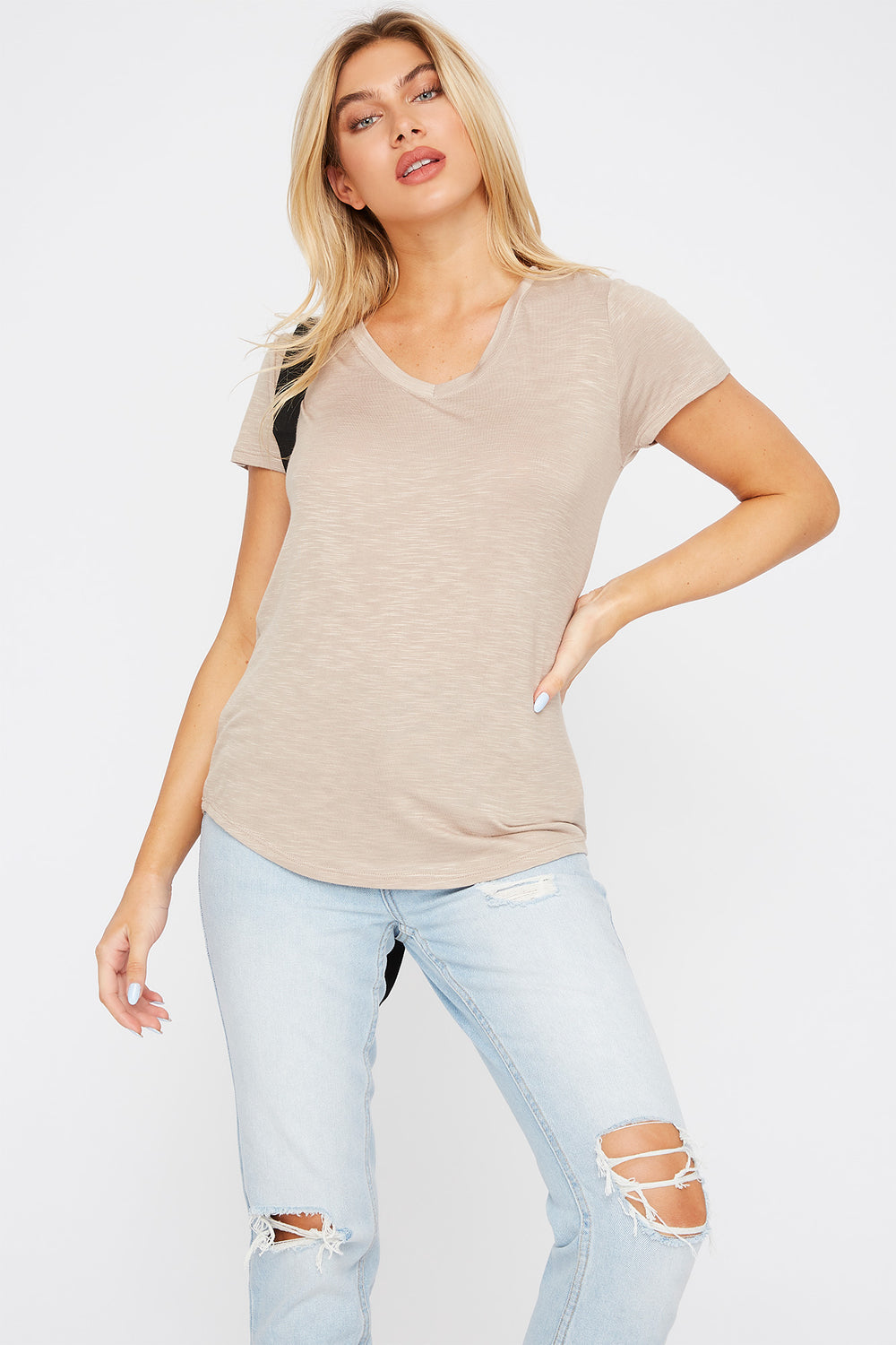 Soft V-Neck T-Shirt Taupe